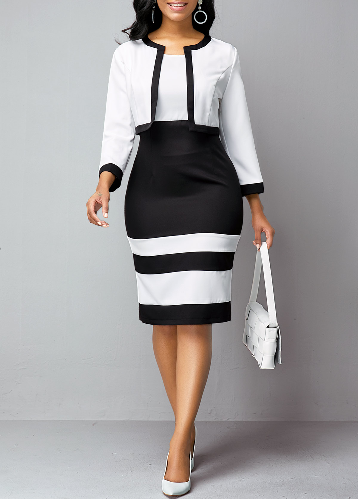 Contrast Piping Cardigan and High Waist Dress