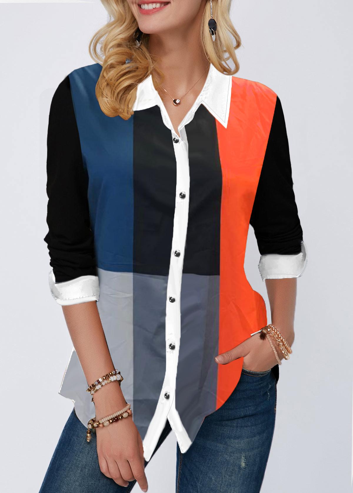 Button Up Color Block Turndown Collar Shirt