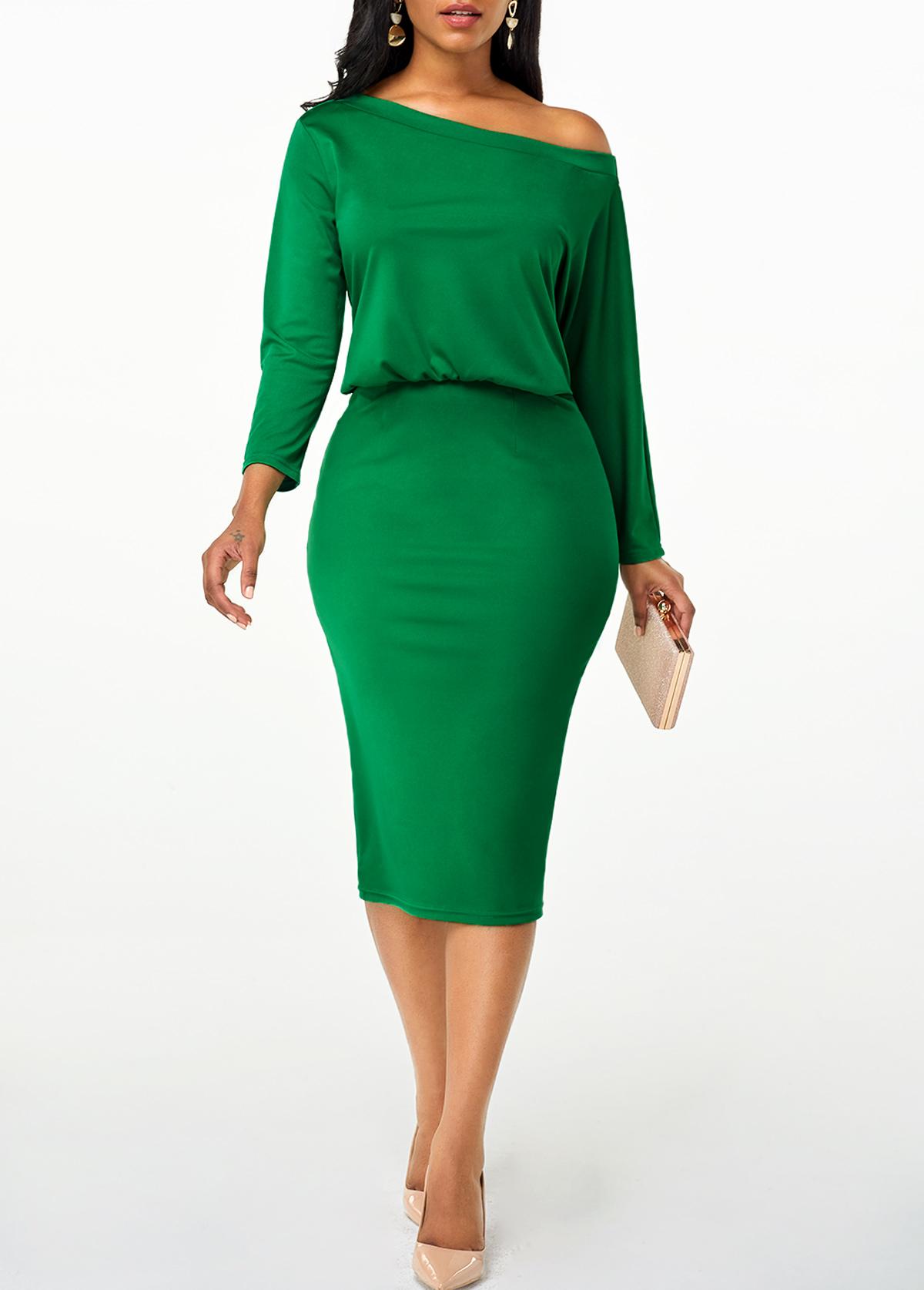 High Waist Skew Neck Green Dress