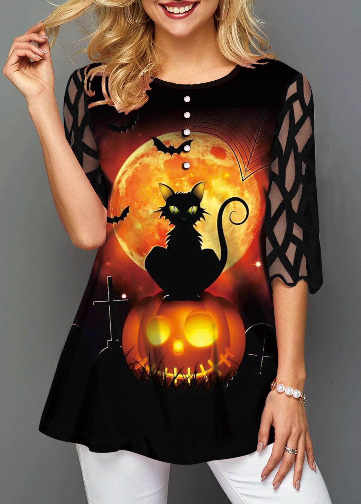 ROTITA Halloween Print Mesh Panel Button Decorated T Shirt