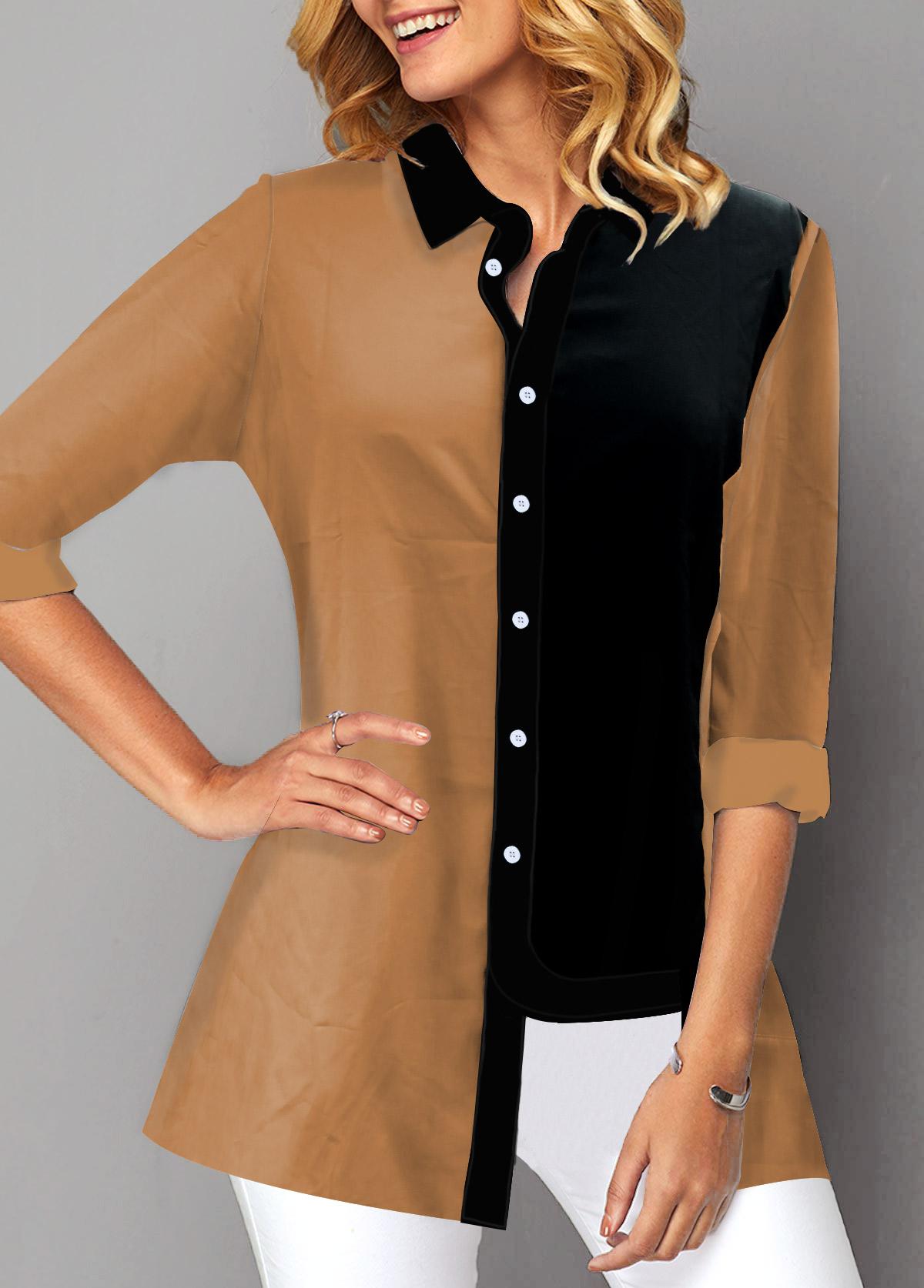 Turndown Collar Button Up Long Sleeve Blouse