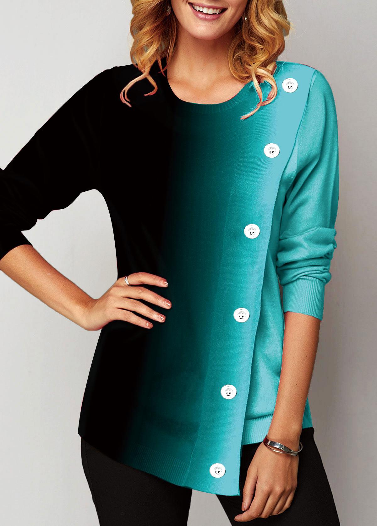 Long Sleeve Round Neck Eyelet Embellished Sweatshirt