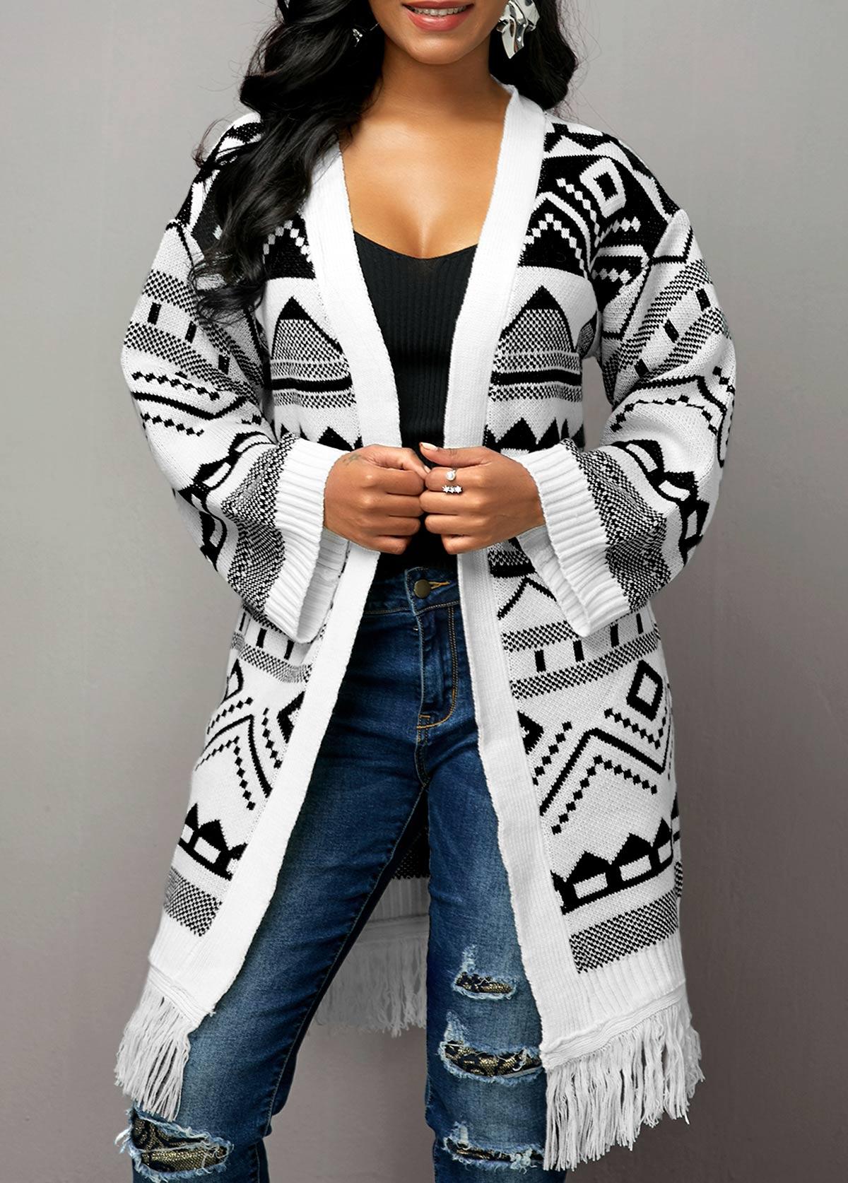 Tassel Hem Tribal Pattern Open Front Cardigan