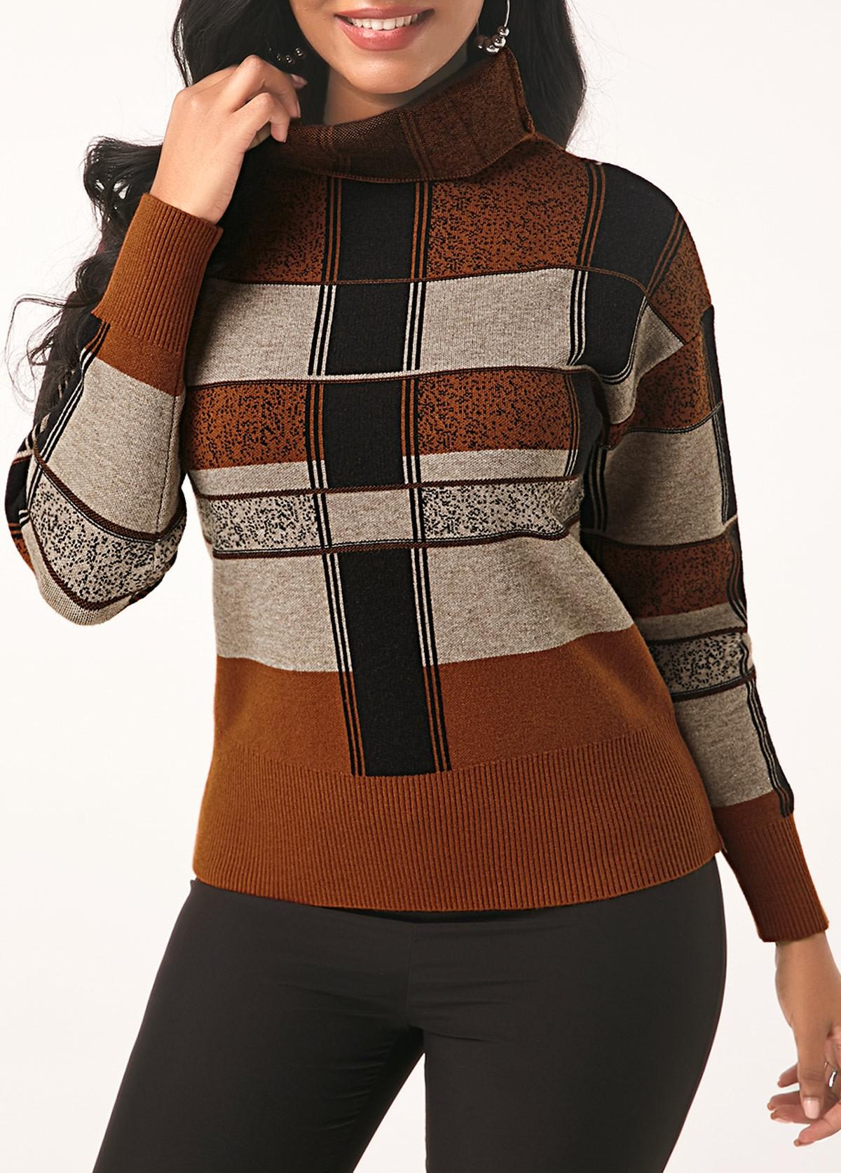 Turtleneck Long Sleeve Plaid Pattern Sweater