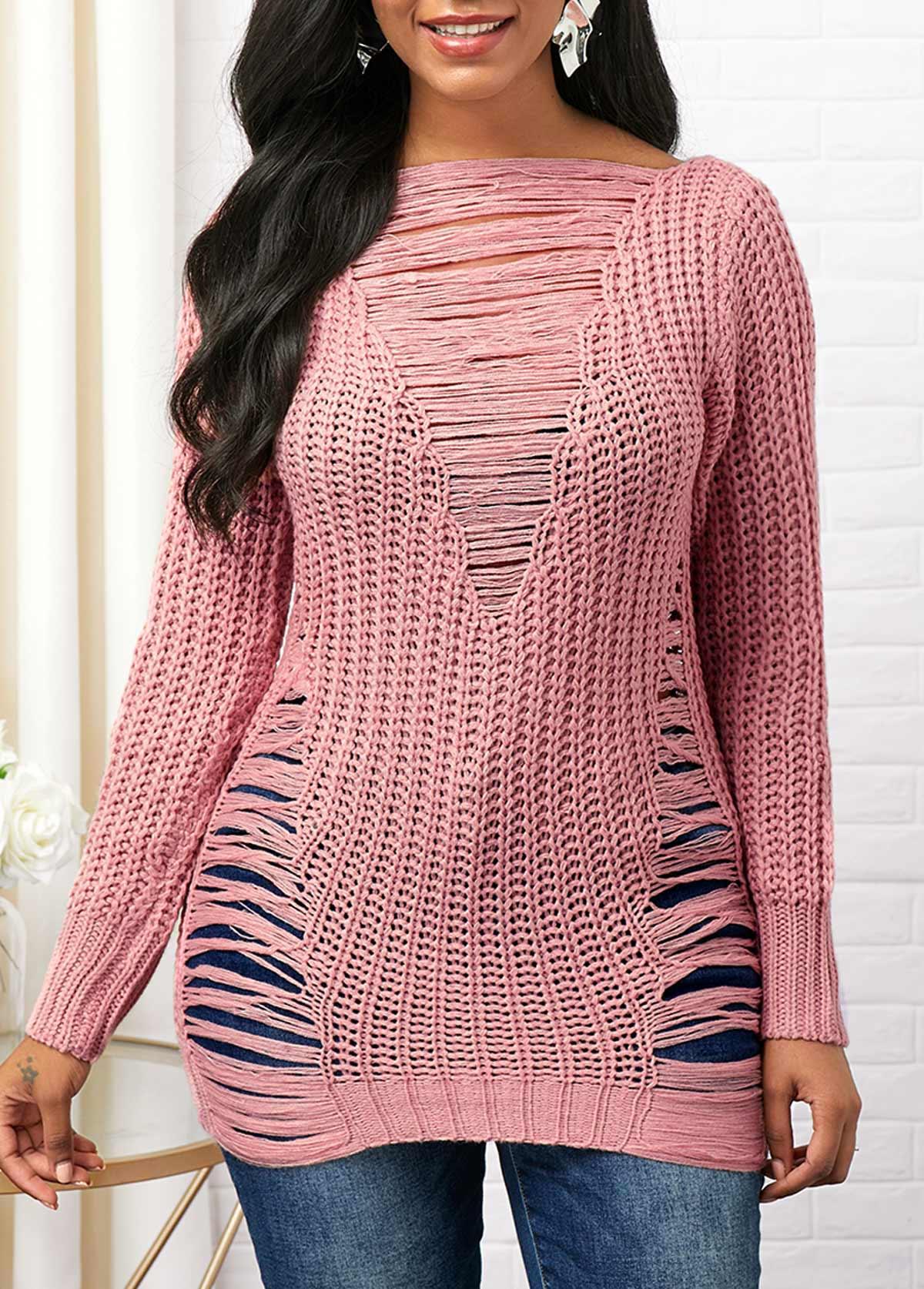 Long Sleeve Shredded Peach Pink Sweater