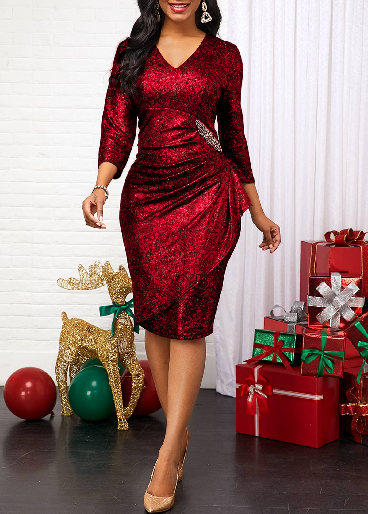 ROTITA Three Quarter Sleeve Red V Neck Dress