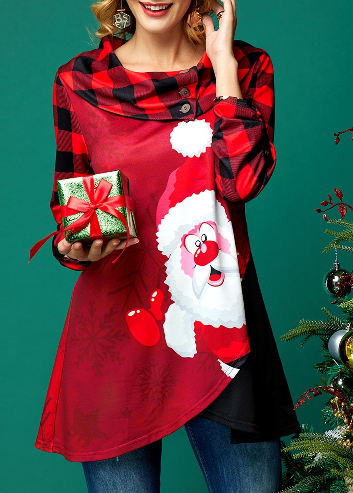 Crossover Hem Christmas Print Long Sleeve T Shirt