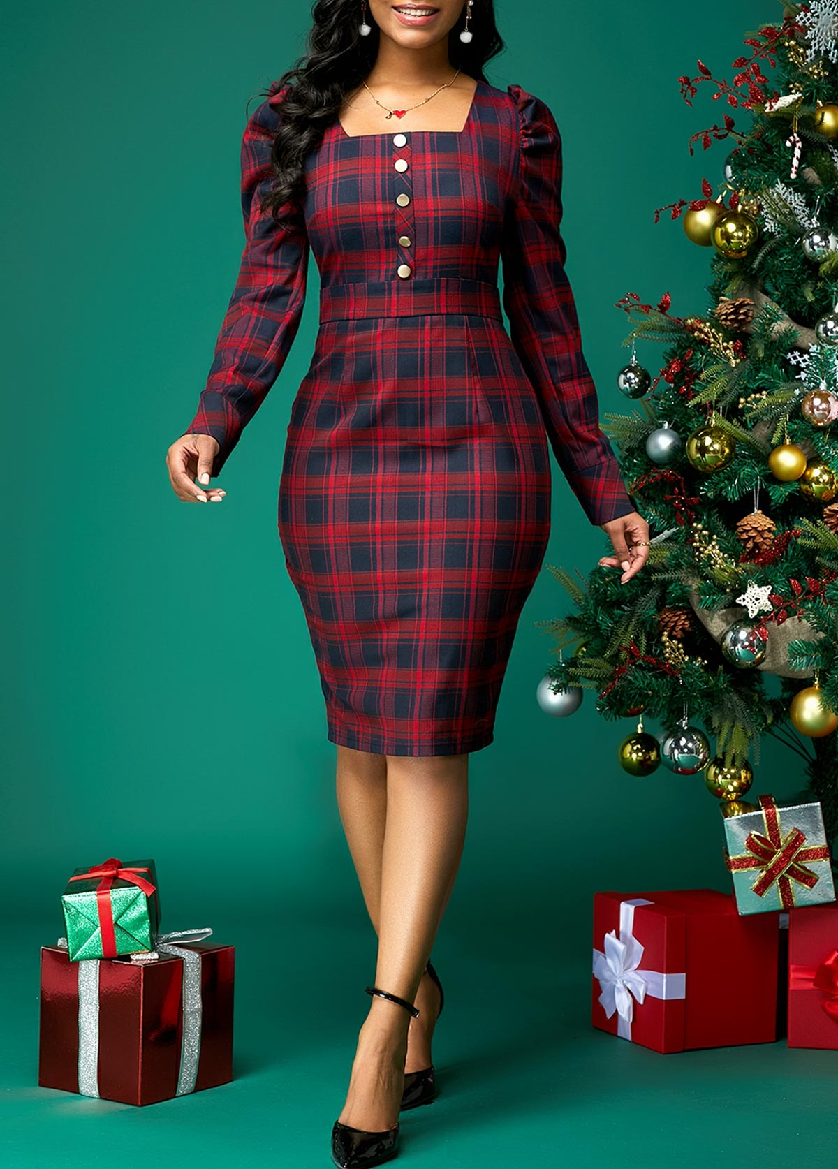 Plaid Print Button Front Square Collar Dress