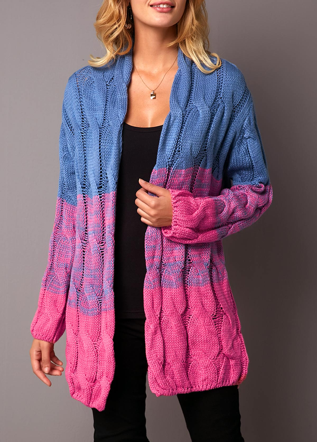 Long Sleeve Open Front Color Block Cardigan
