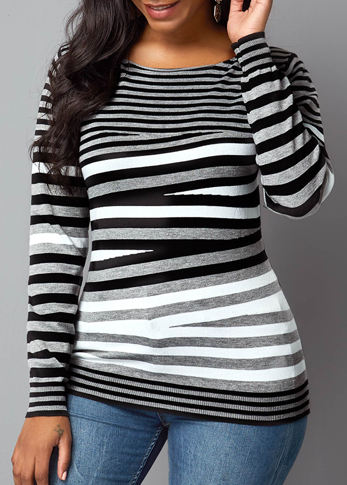 Round Neck Striped Long Sleeve Sweater