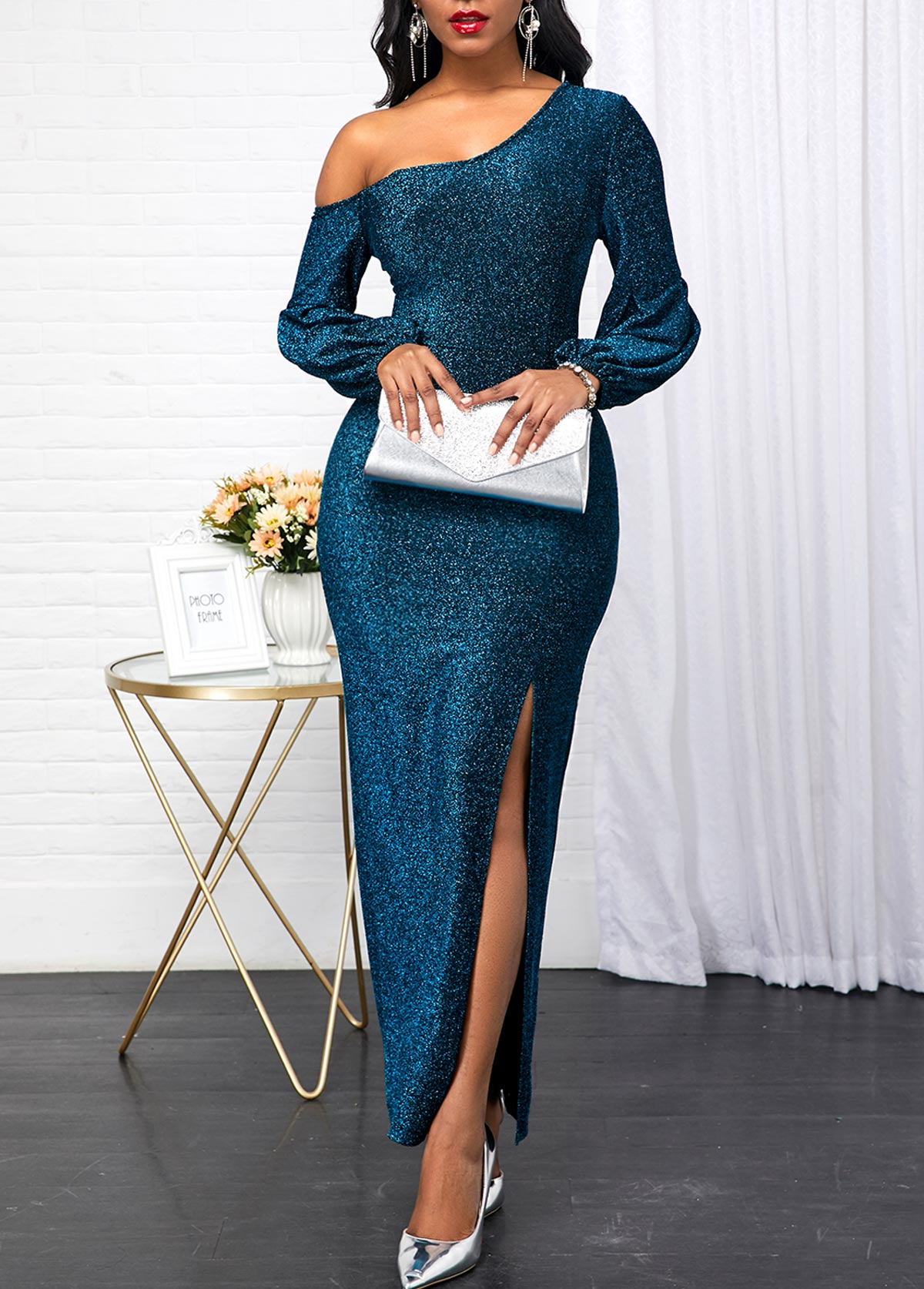 Peacock Blue Skew Neck Long Sleeve Dress
