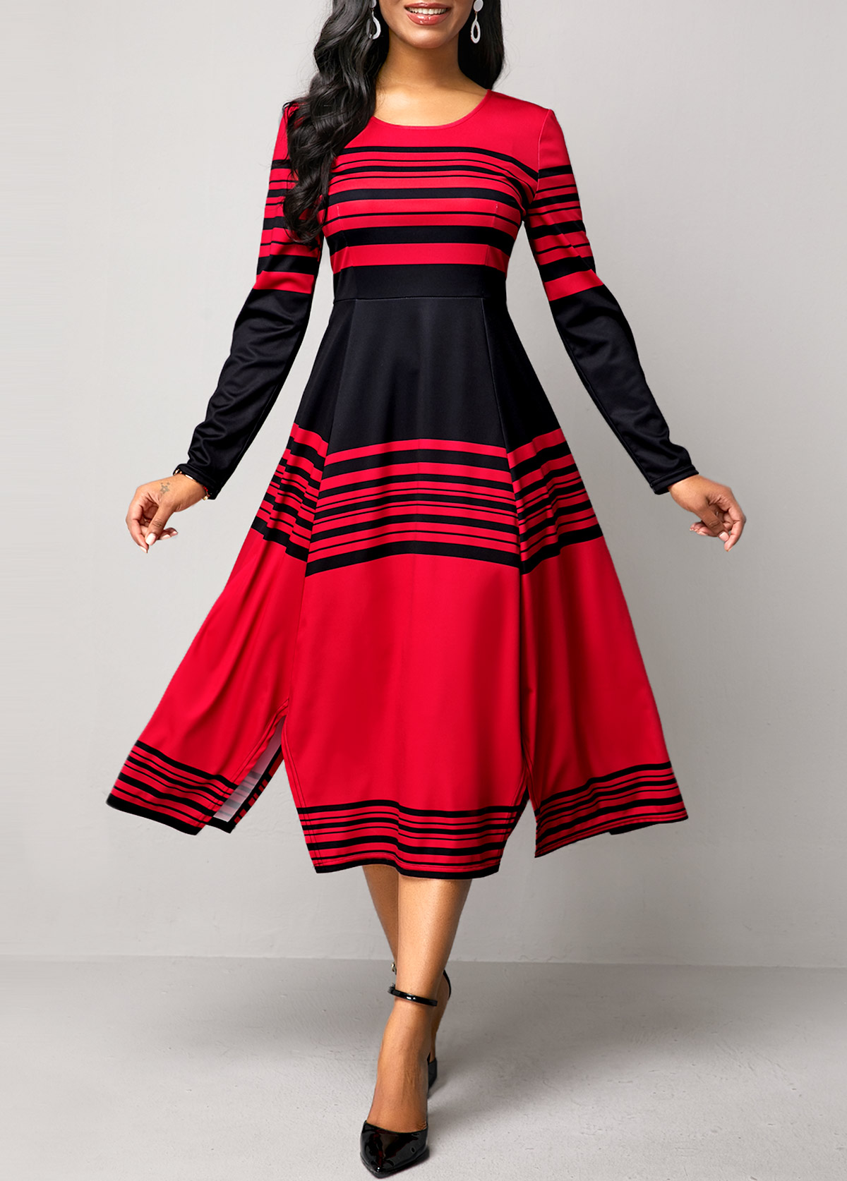 Stripe Print High Waist Long Sleeve Dress
