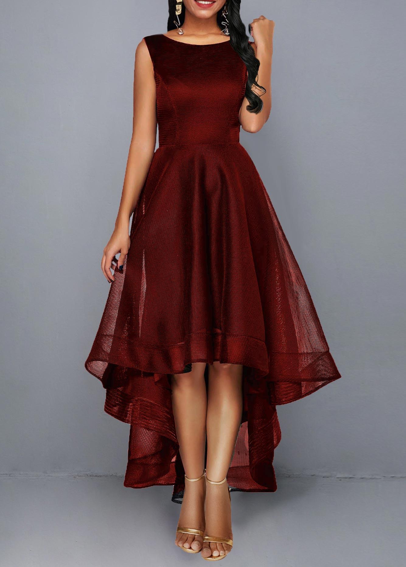Sleeveless High Waist Round Neck Dress