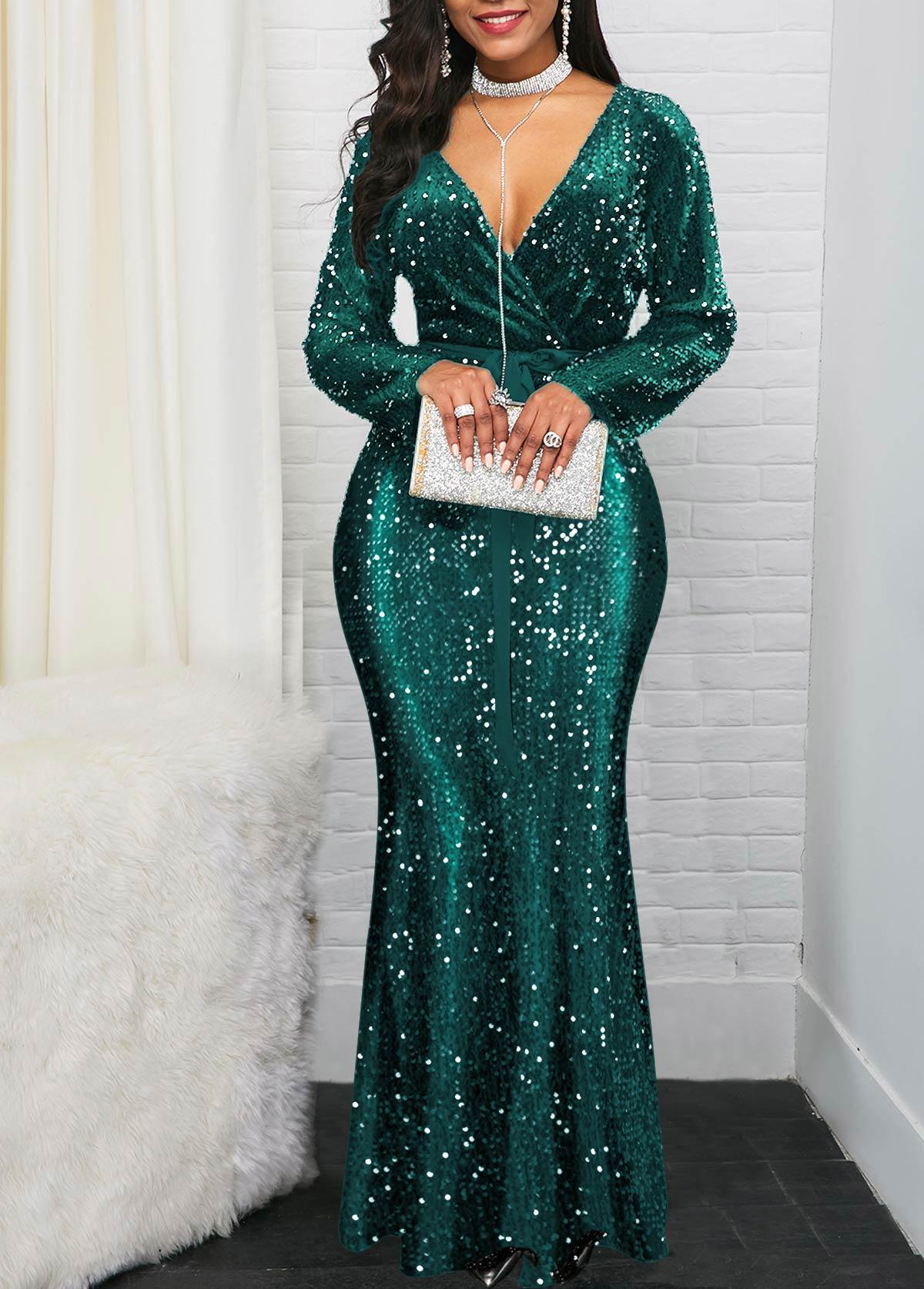 Ruffle Hem Plunging Neck Sequin Embellished Dress