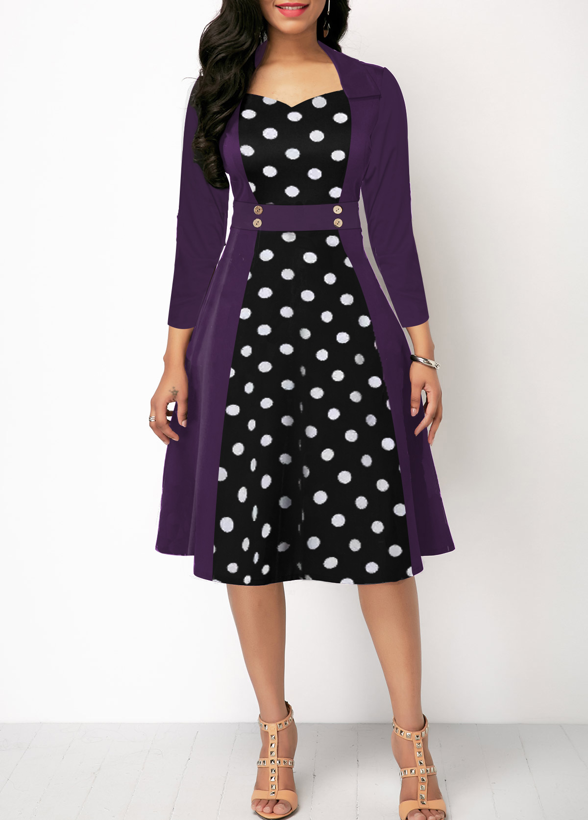 Three Quarter Sleeve Polka Dot Print Button Detail Dress
