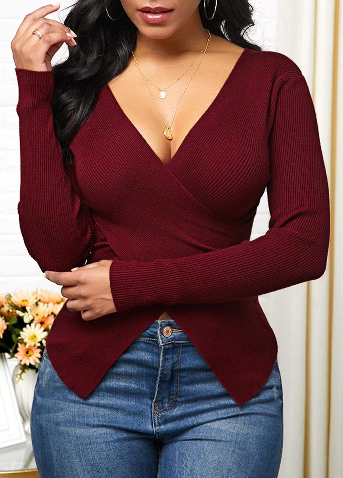 Plunging Neck Pullover Crossover Hem Sweater
