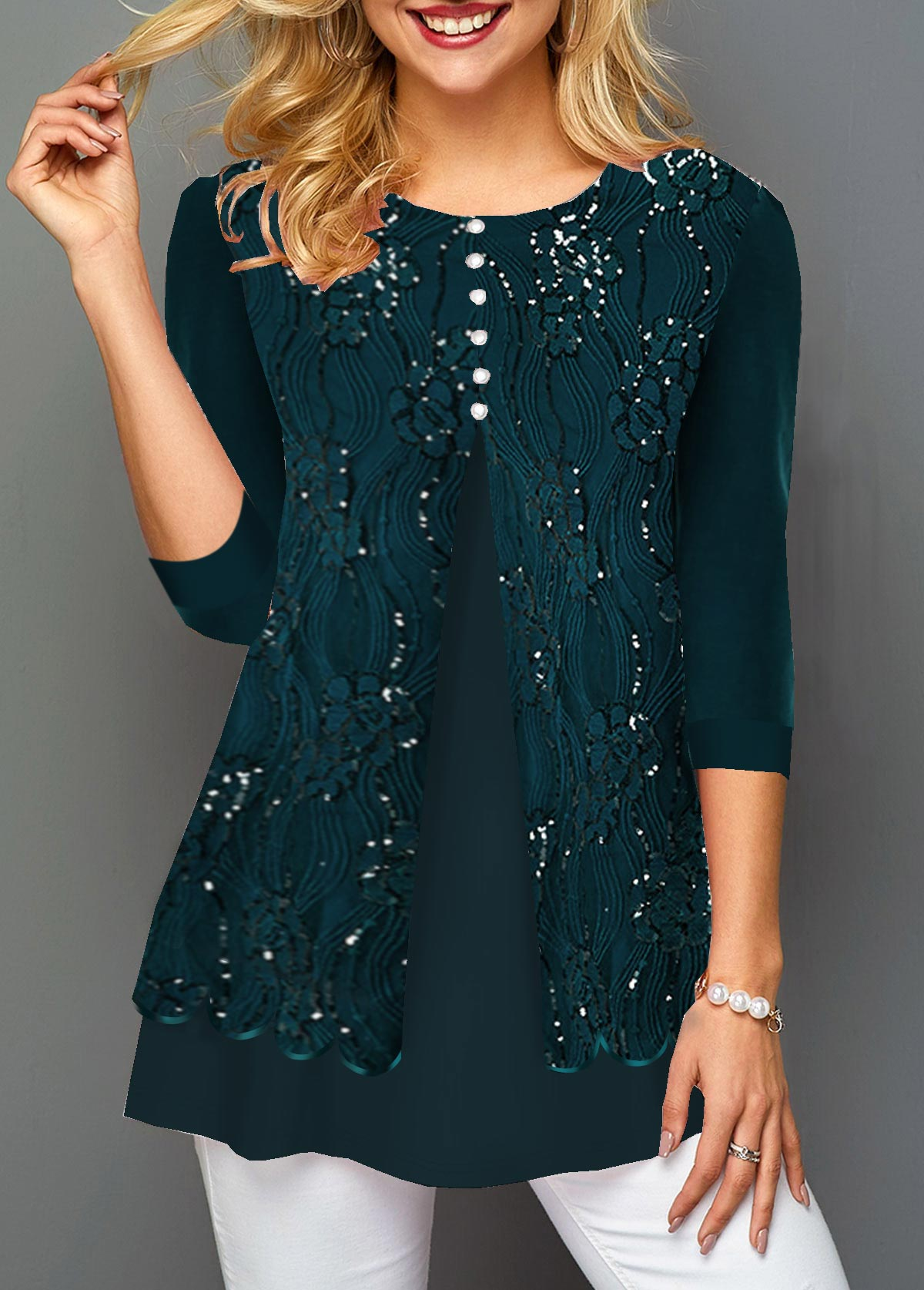 Lace Patchwork Dark Green Three Quarter Sleeve Blouse