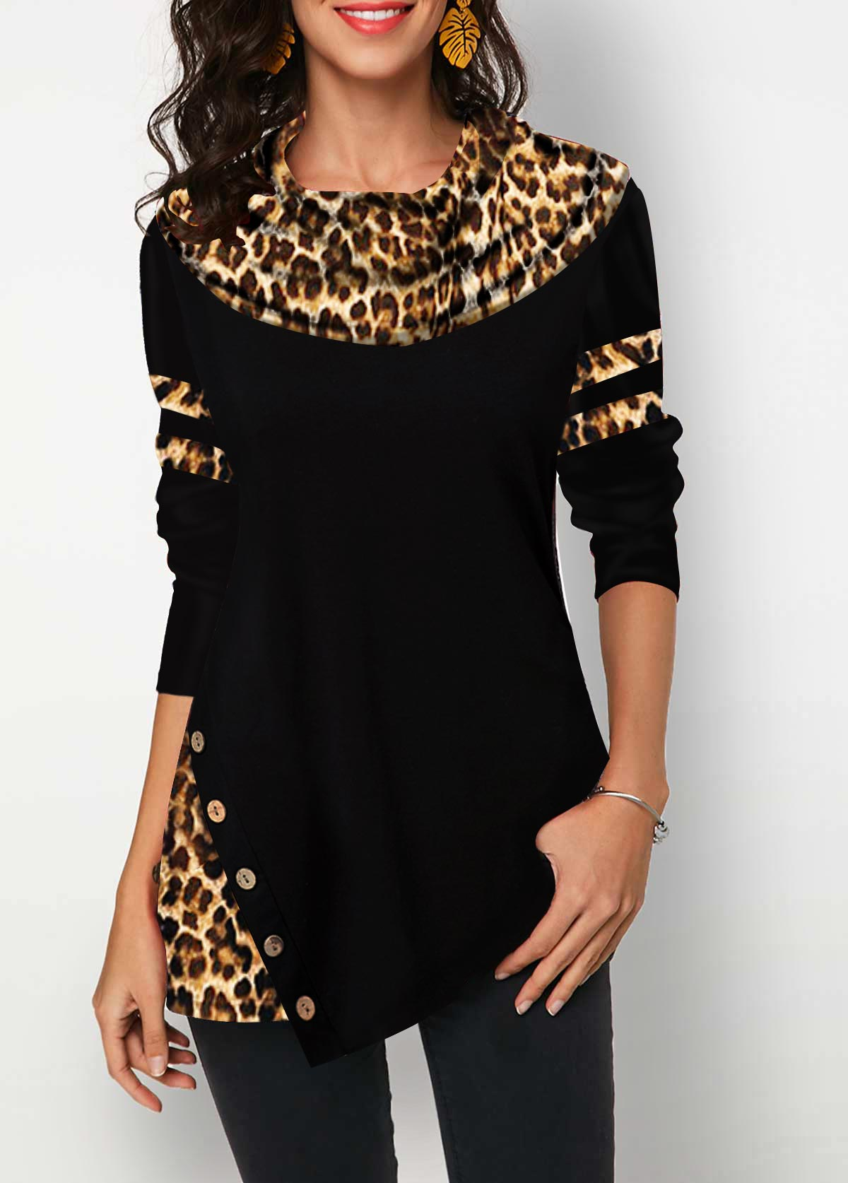 Leopard Print Long Sleeve Button Detail T Shirt