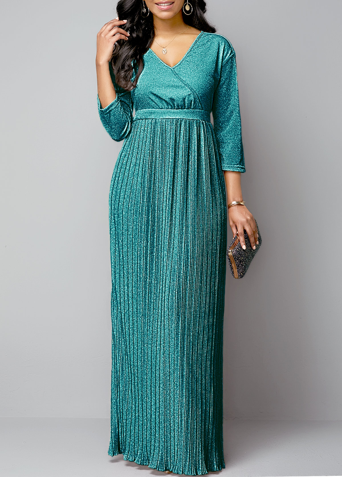 Pleated Hem Hot Stamping Plunging Neck Maxi Dress