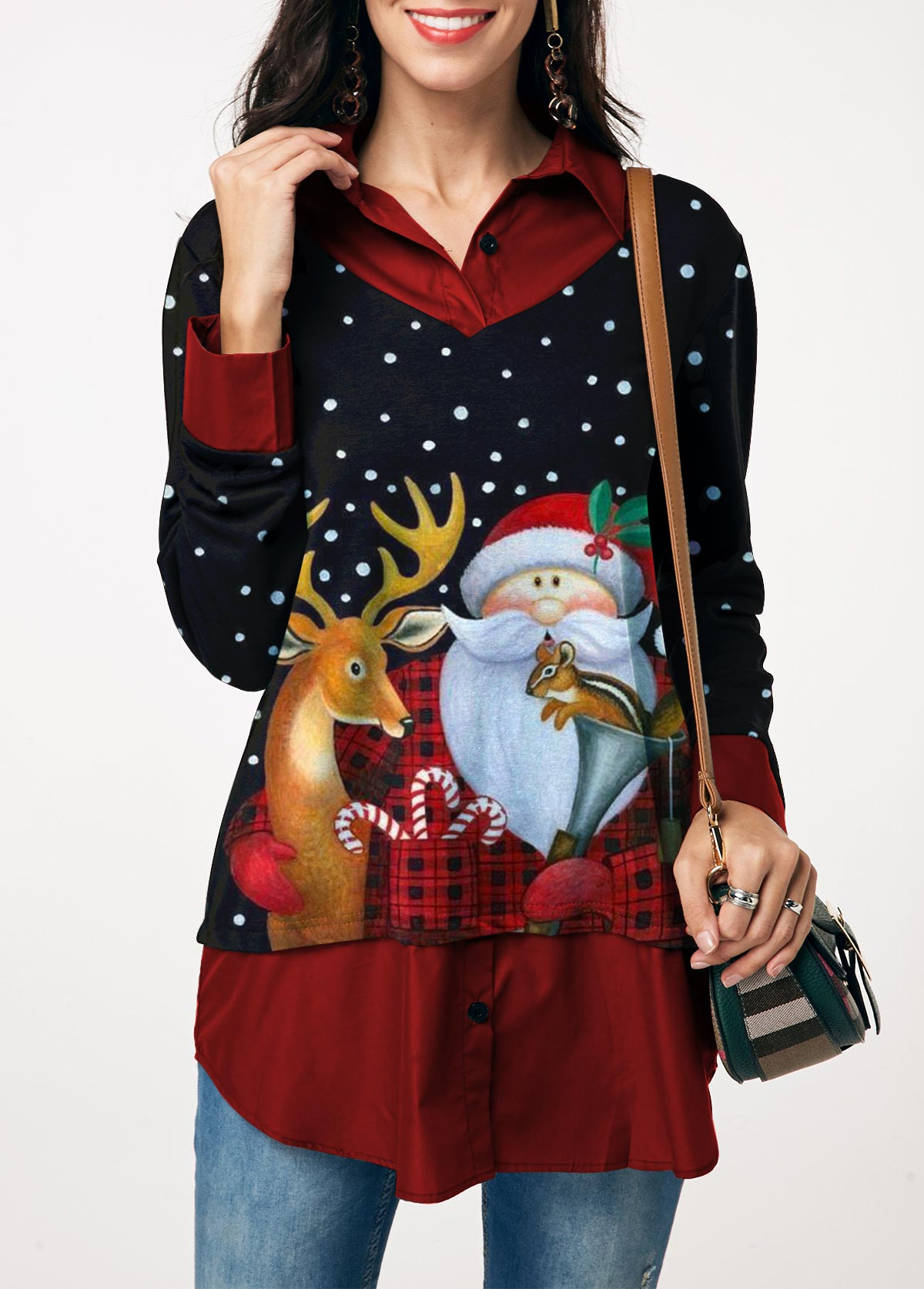 Christmas Elk and Santa Claus Print Faux Two Piece Blouse