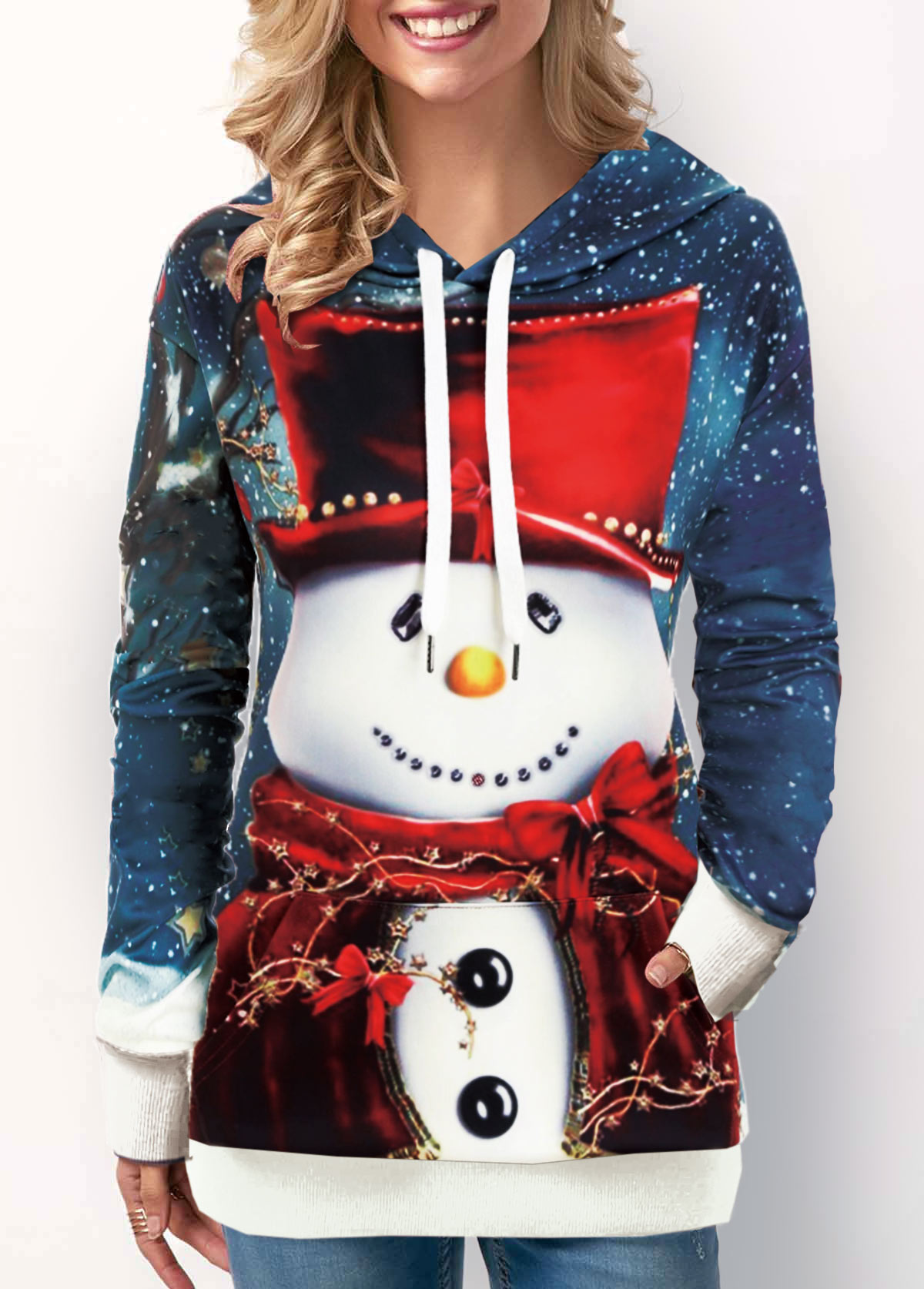 Christmas Snowman Print Pocket Drawstring Detail Sweatshirt