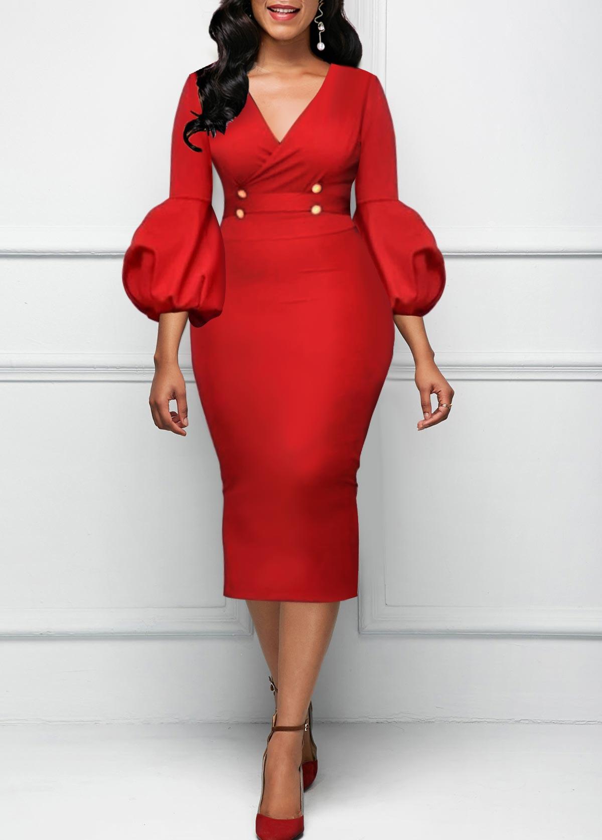 High Waist V Neck Red Dress