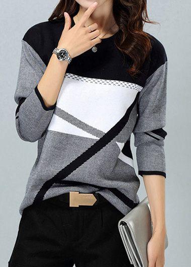 Round Neck Stripe Pattern Long Sleeve Sweater