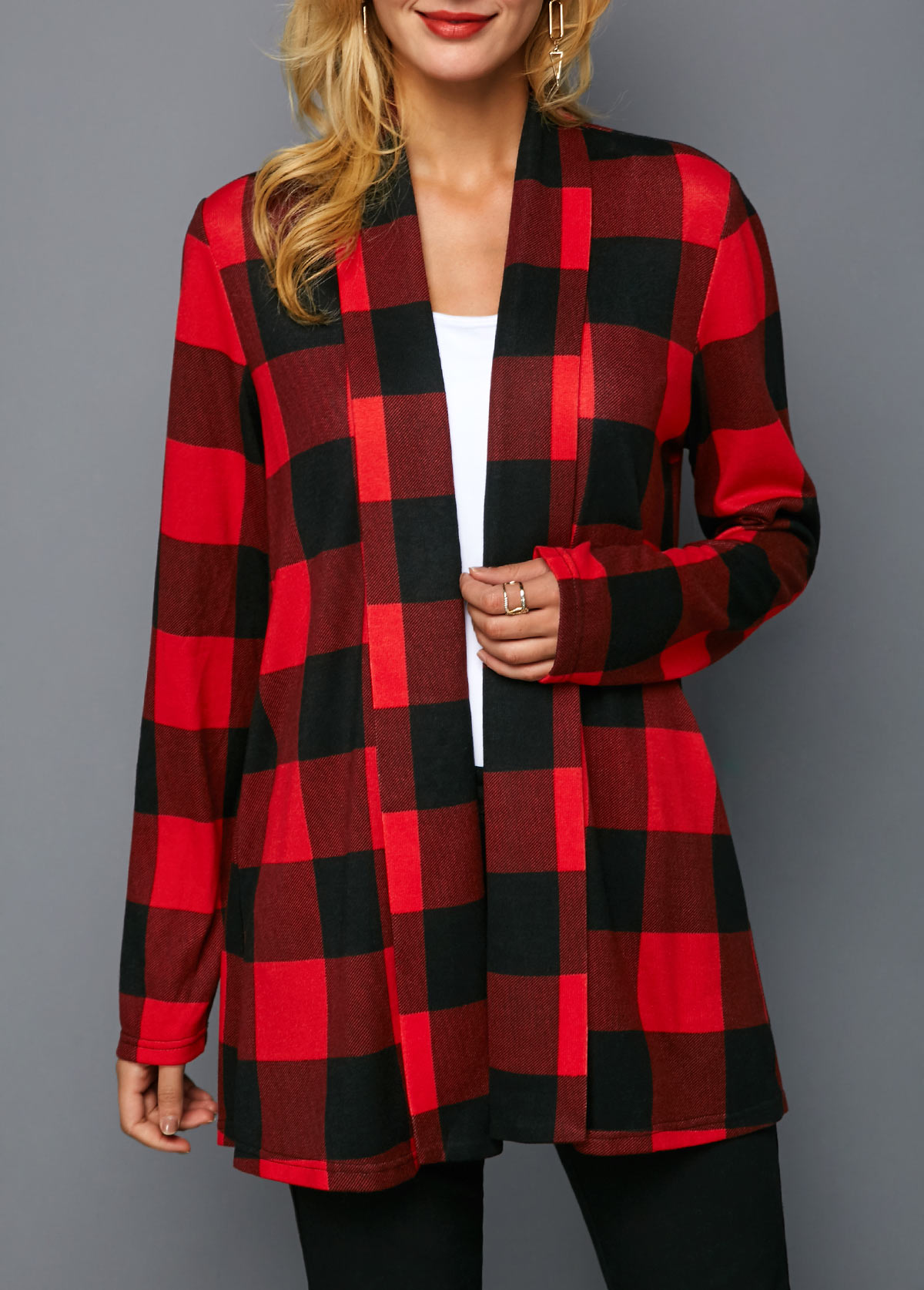 Plaid Print Red Open Front Coat