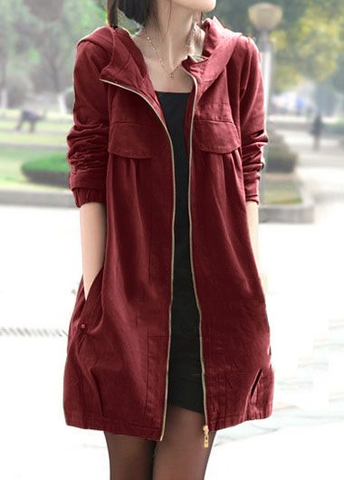 Hooded Collar Side Pocket Zipper Closure Coat