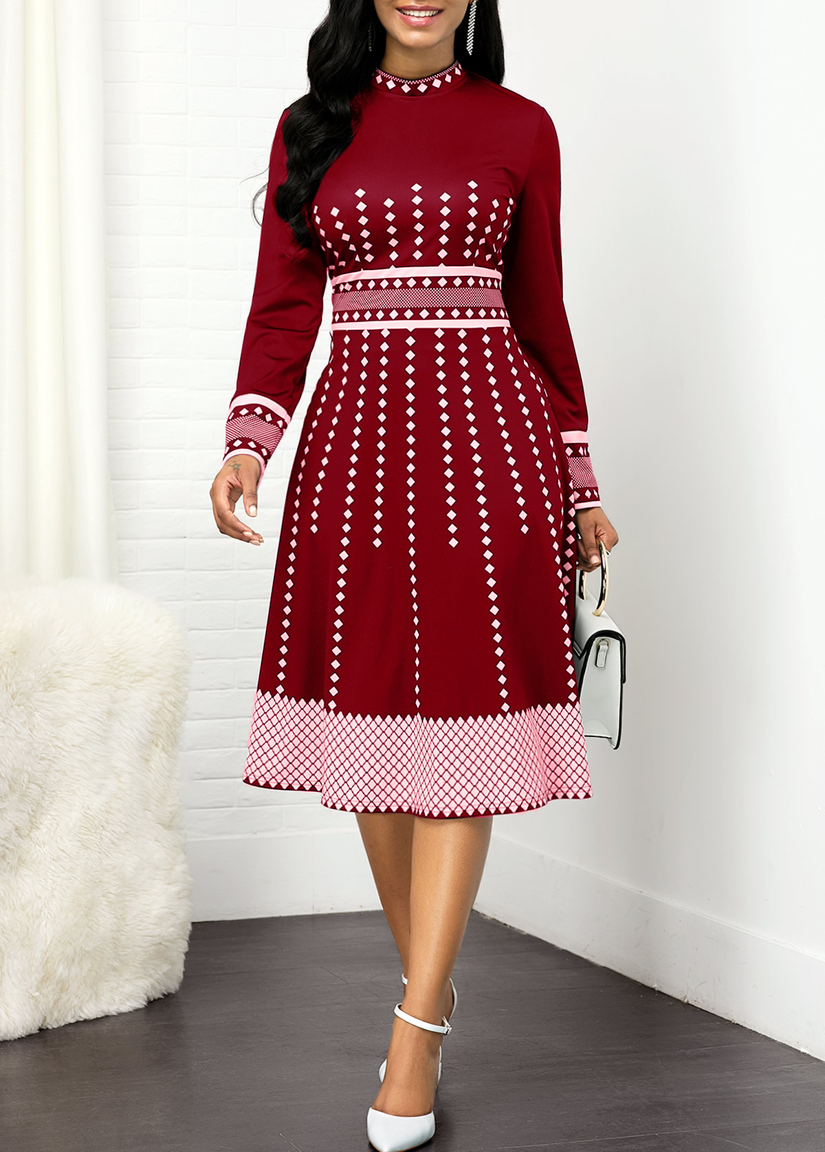 High Waist Mock Neck Geometric Print Dress