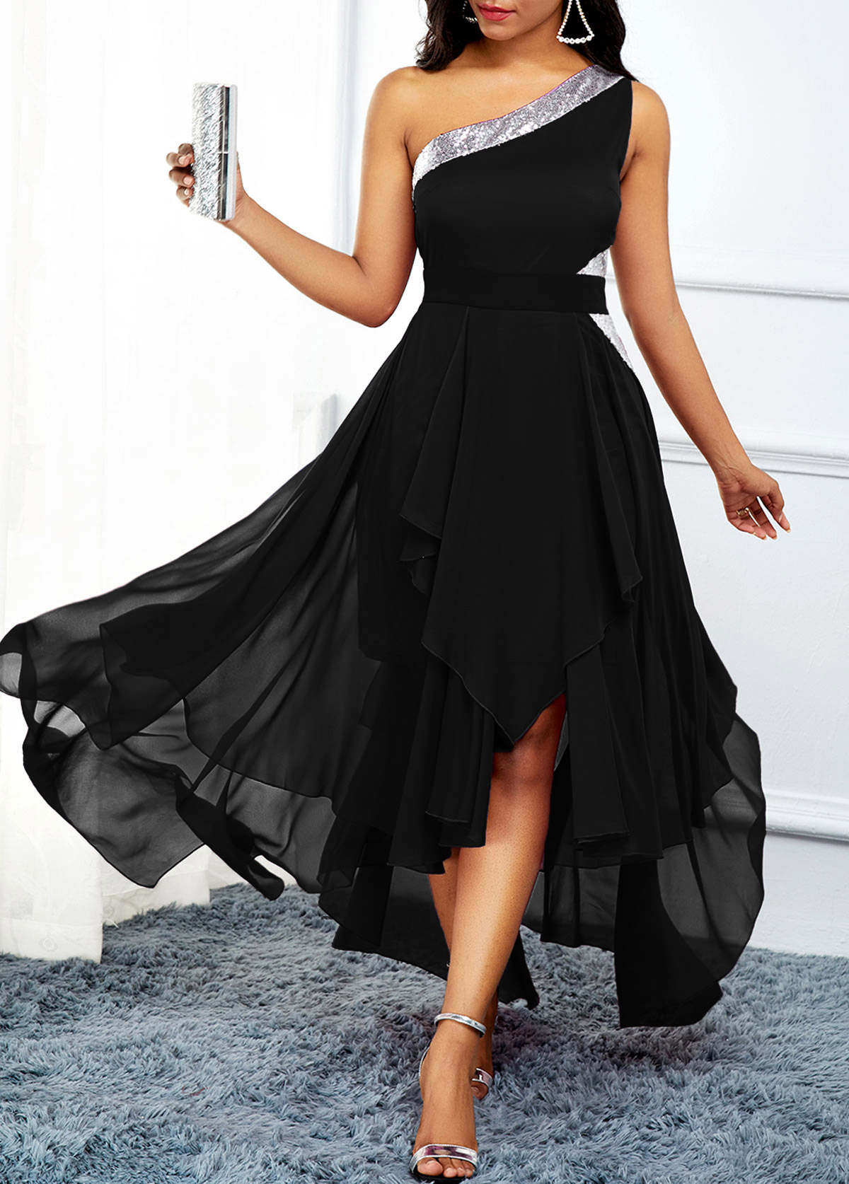 Asymmetric Hem One Shoulder High Waist Dress