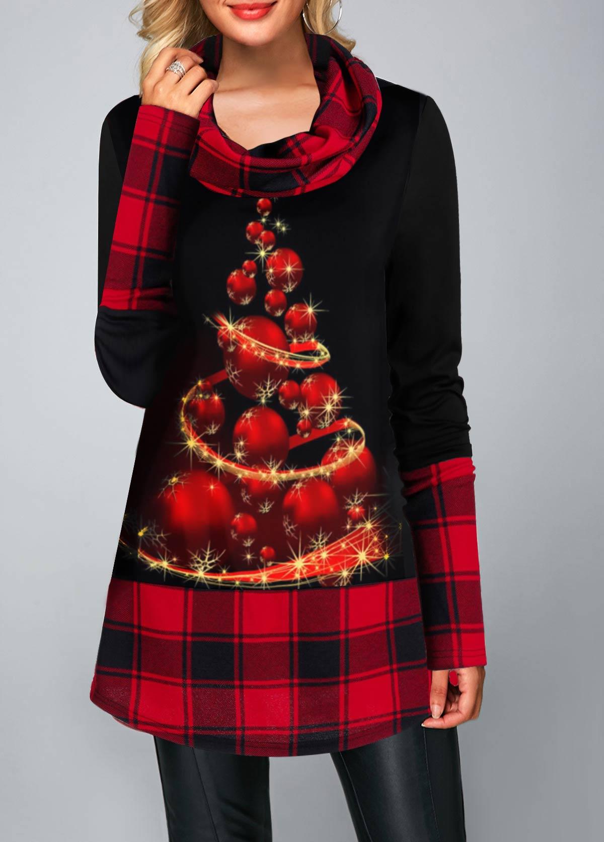 ROTITA Cowl Neck Christmas Tree Print T Shirt