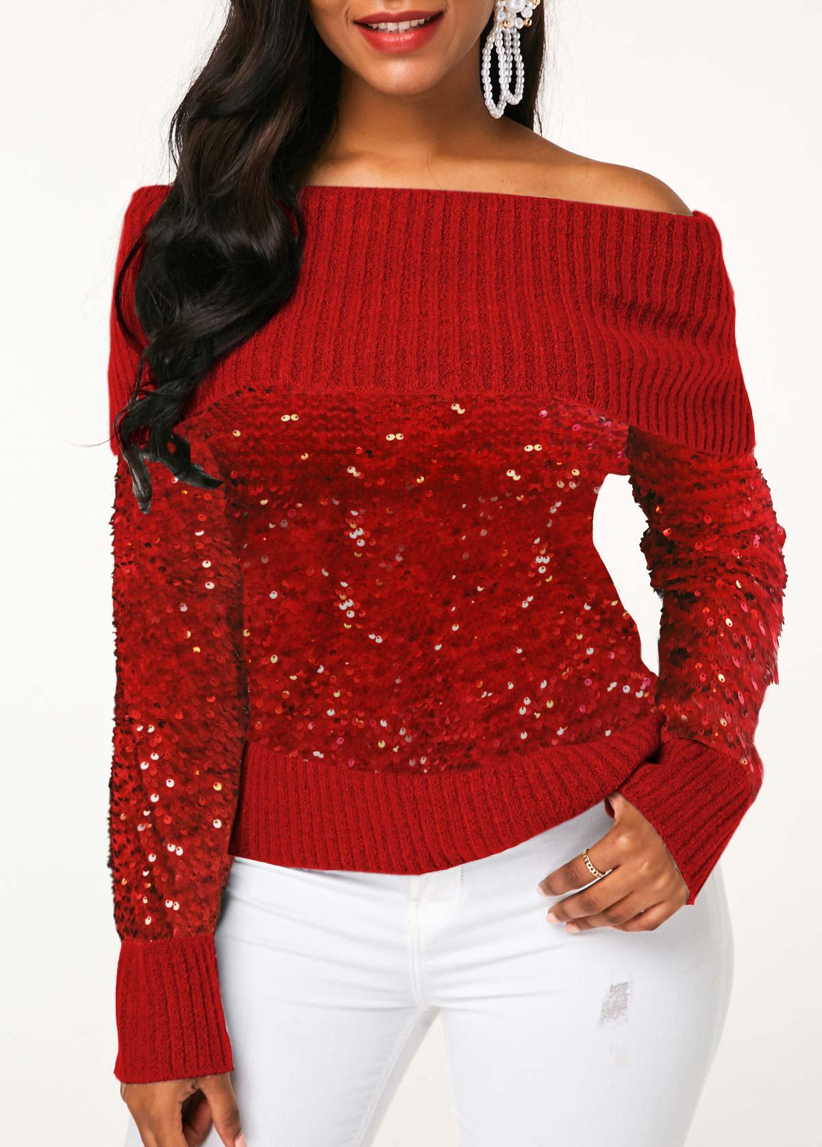 Off the Shoulder Red Sequin Embellished Sweater
