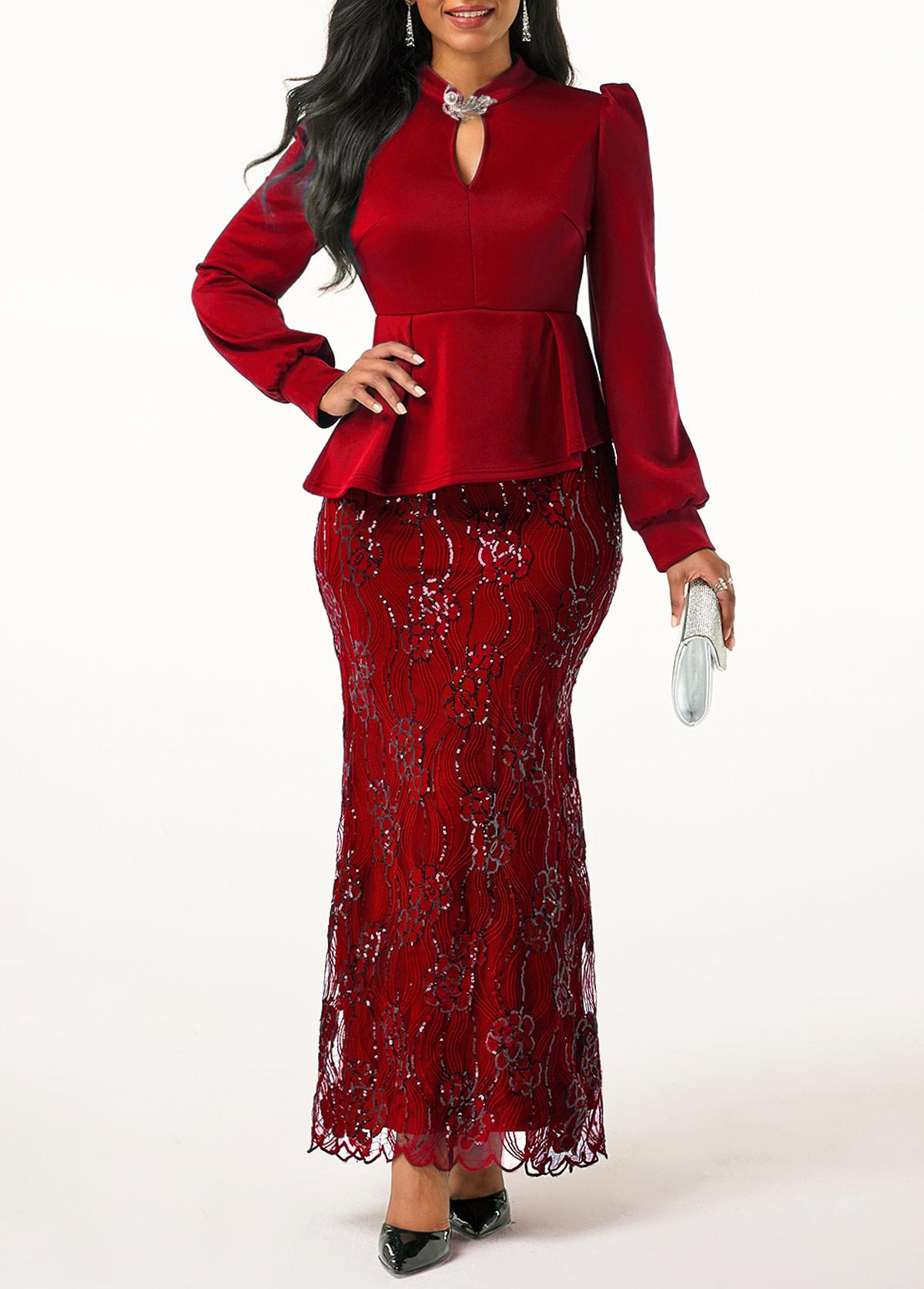 Peplum Waist Wine Red Lace Patchwork Dress