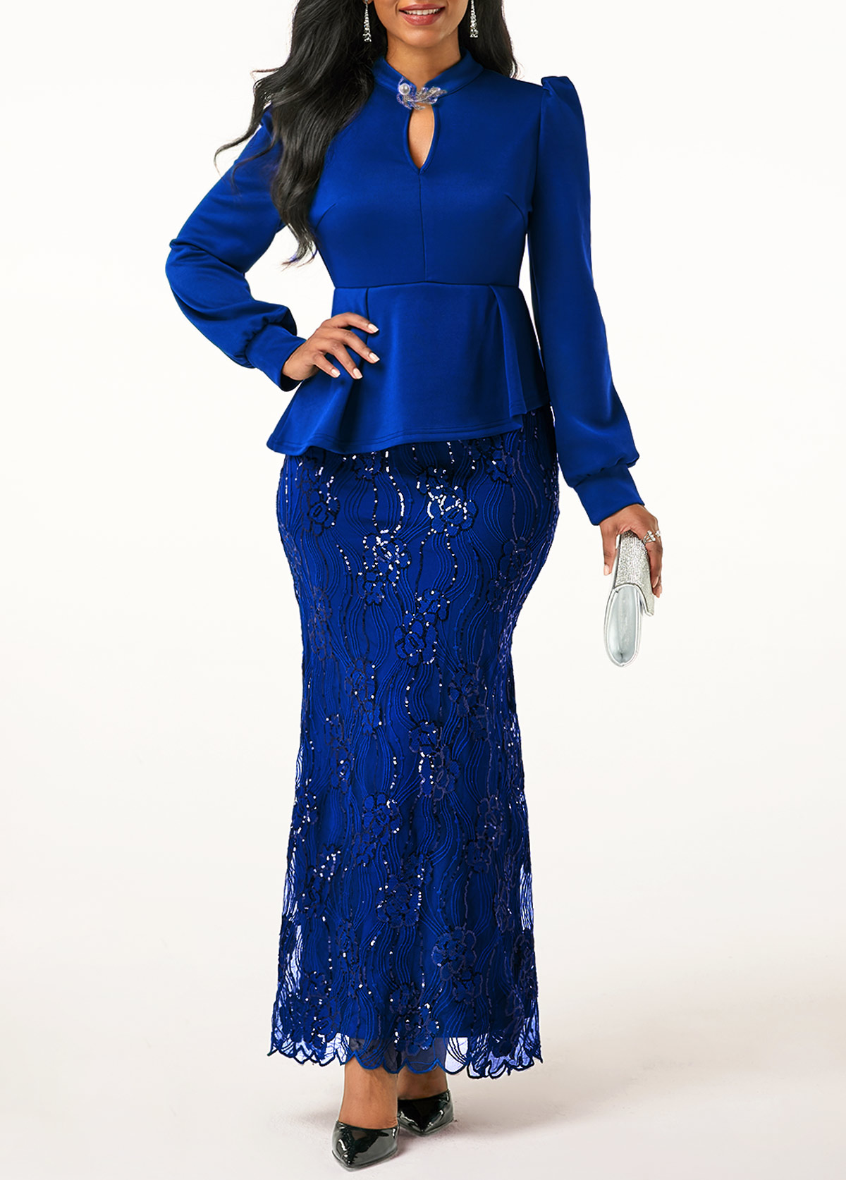 Peplum Waist Lace Patchwork Royal Blue Dress