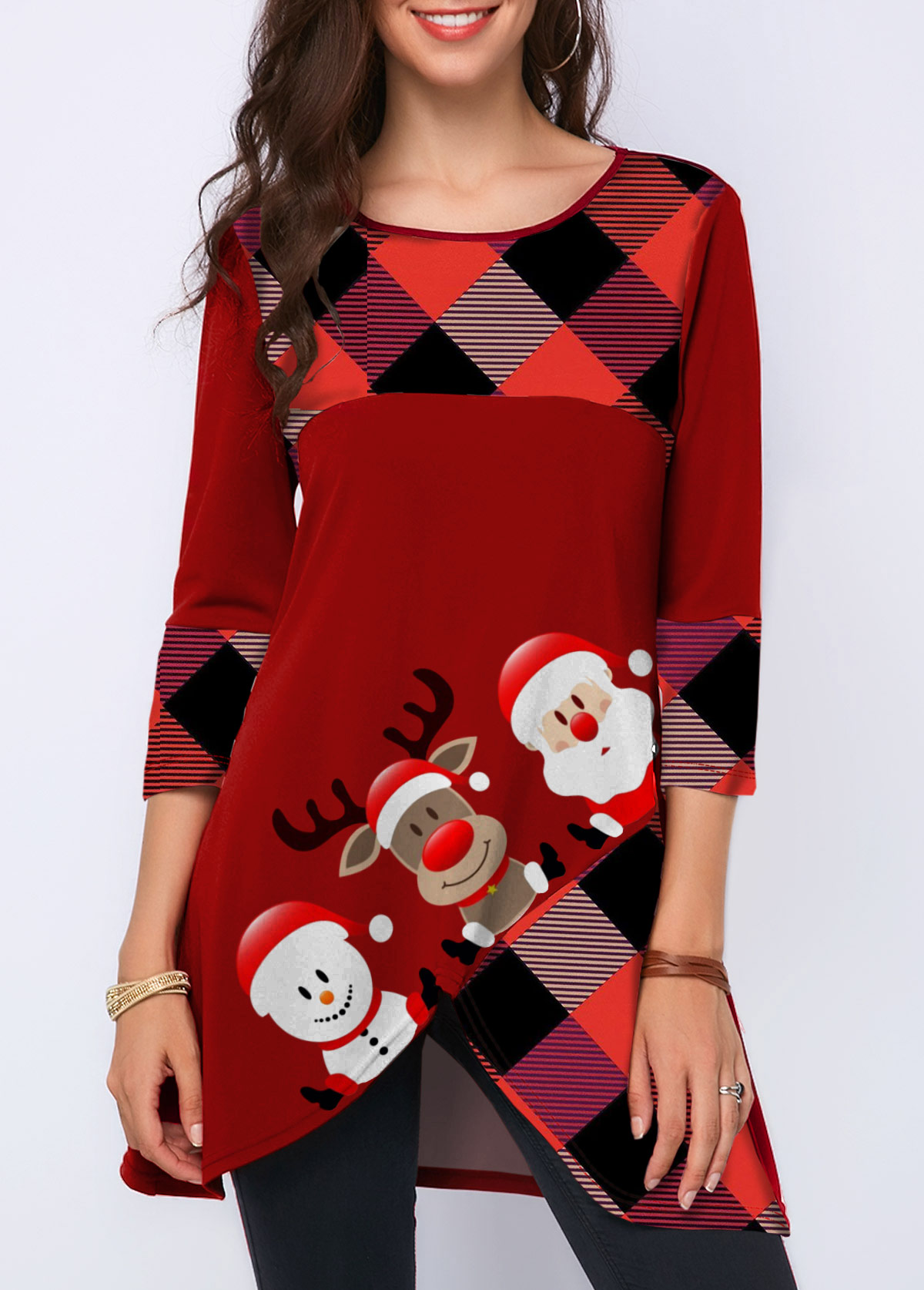 Crossover Hem Christmas Print Three Quarter Sleeve T Shirt