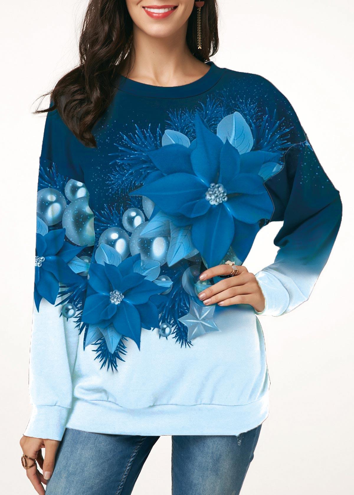 Round Neck Christmas Flower Print Sweatshirt
