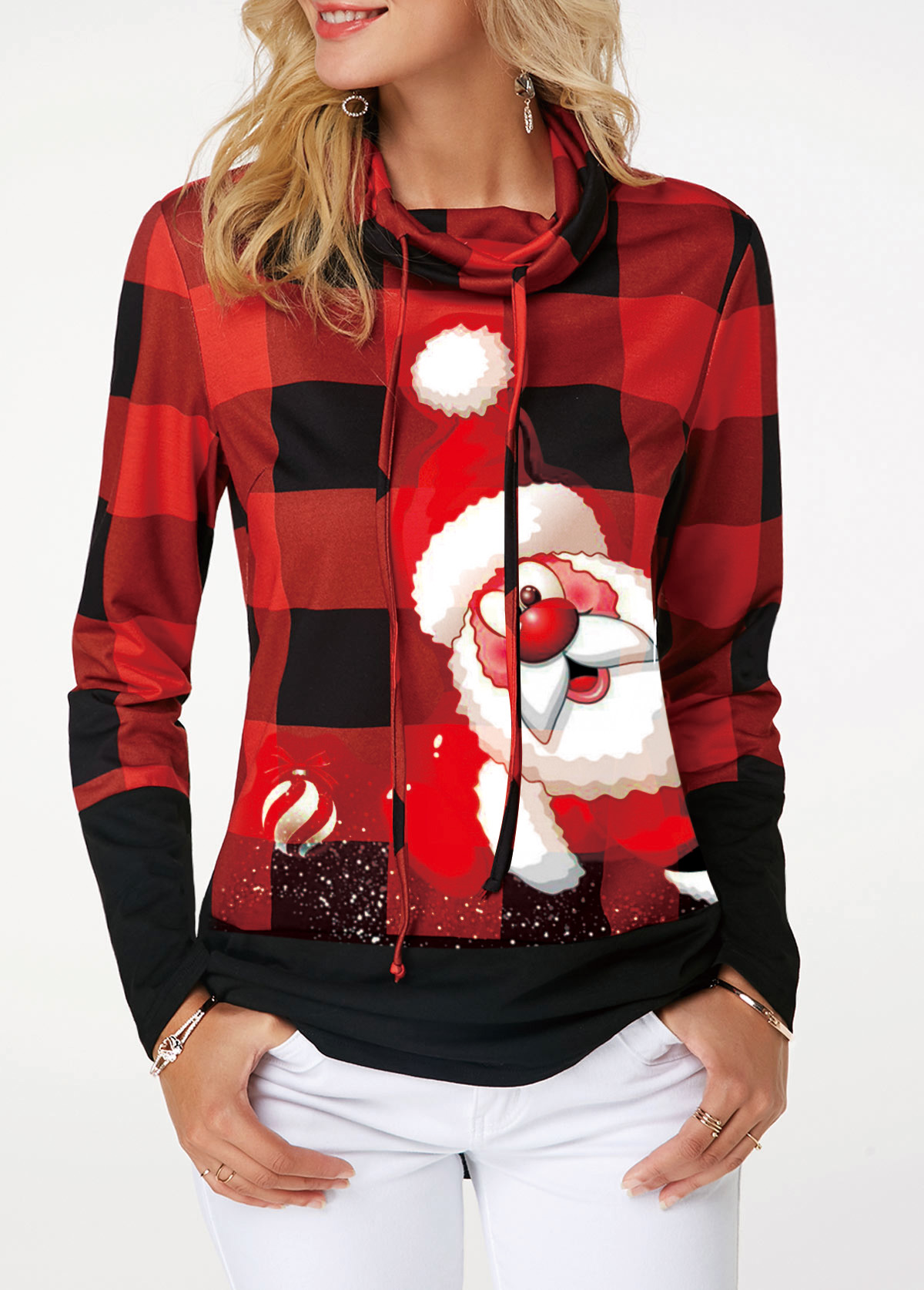ROTITA Drawstring Detail Santa Claus and Plaid Print Sweatshirt
