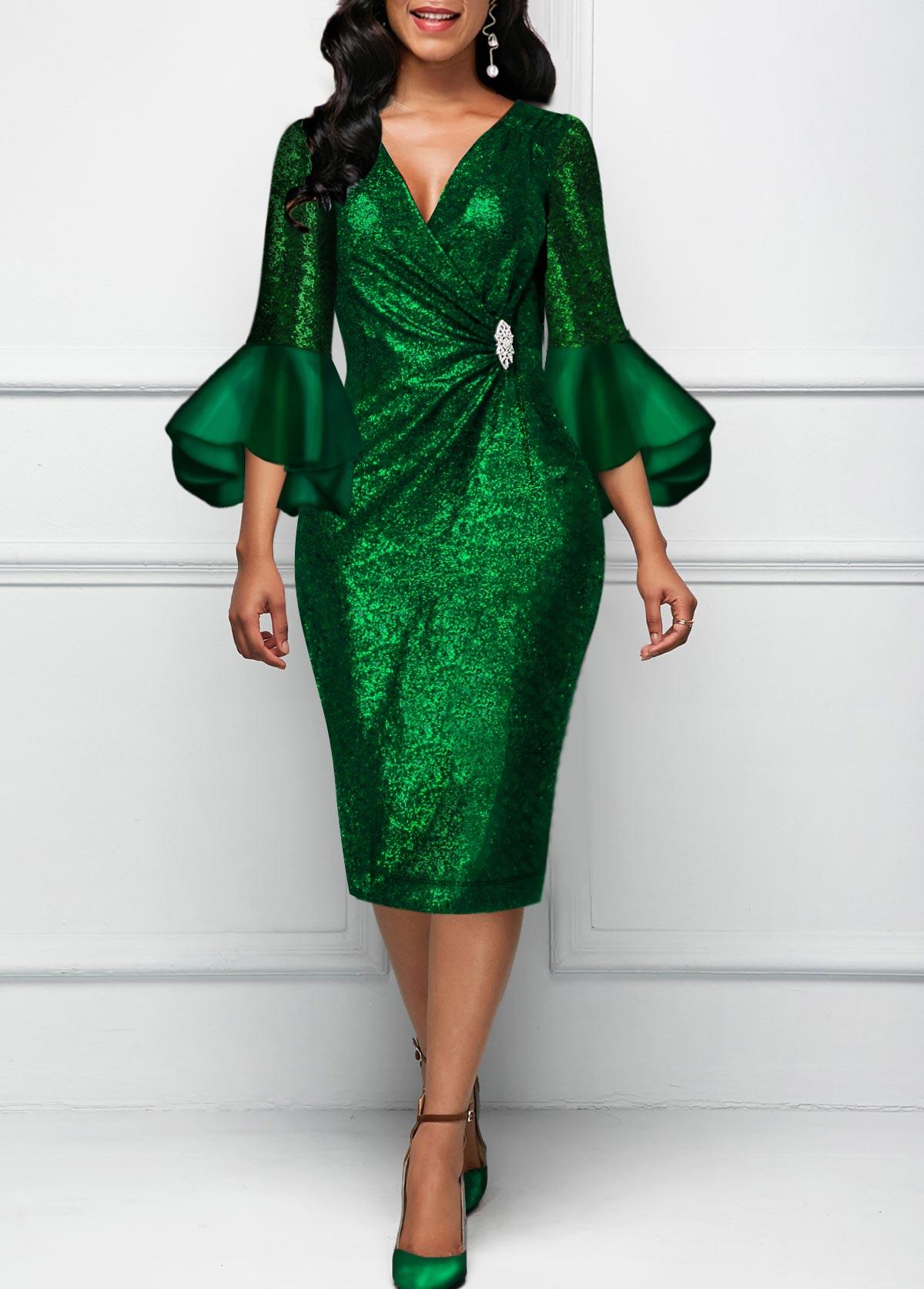 Round Neck Flare Sleeve Dark Green Dress