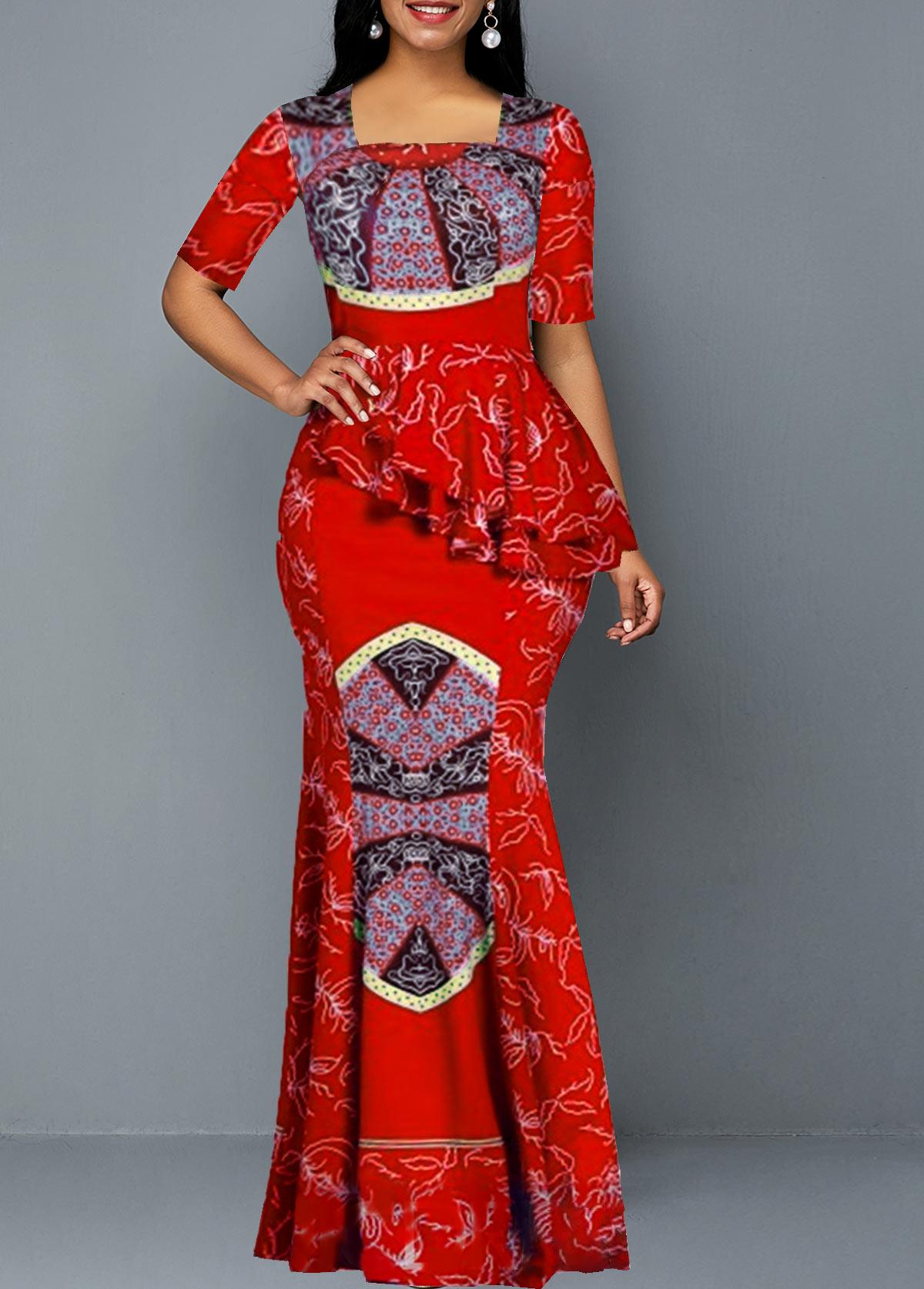 Tribal Print Half Sleeve Ruffle Trim Maxi Dress