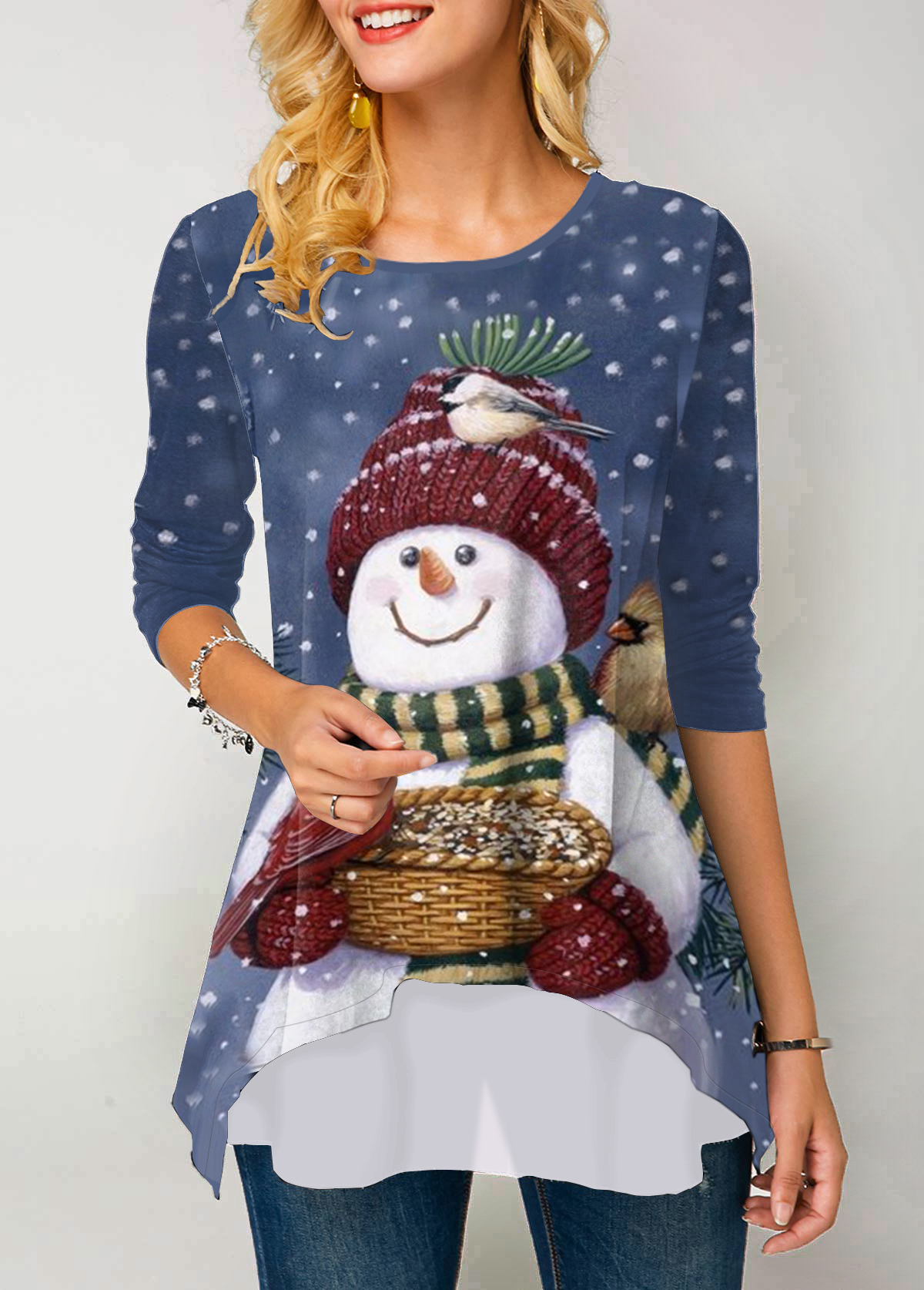 Christmas Snowman Print Long Sleeve Round Neck T Shirt