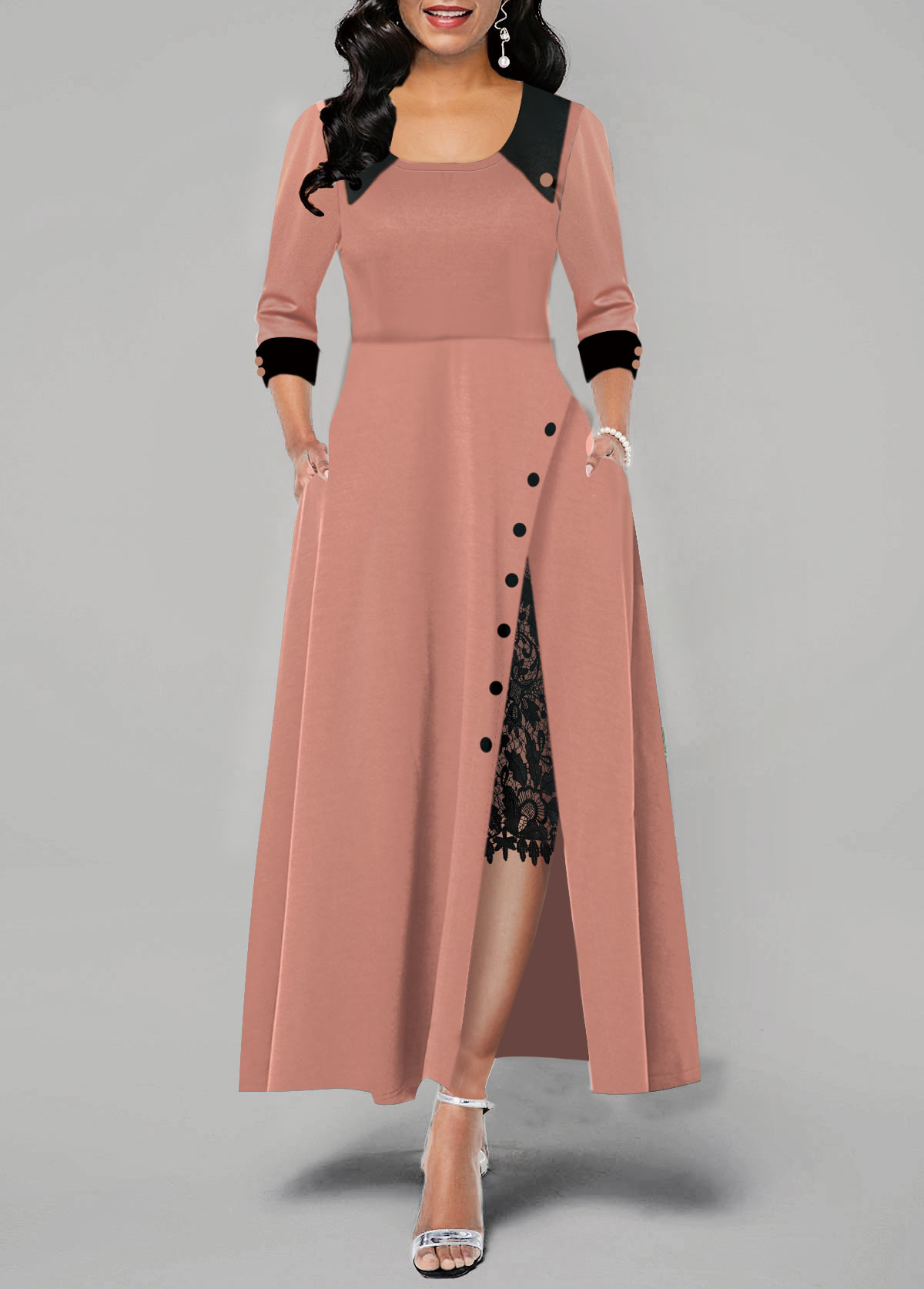 Lace Panel Side Slit Button Detail Maxi Dress