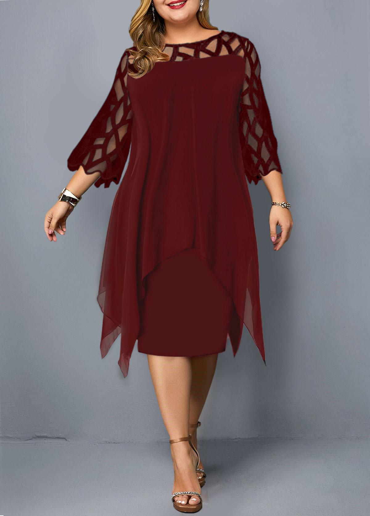 Wine Red Plus Size Three Quarter Sleeve Dress