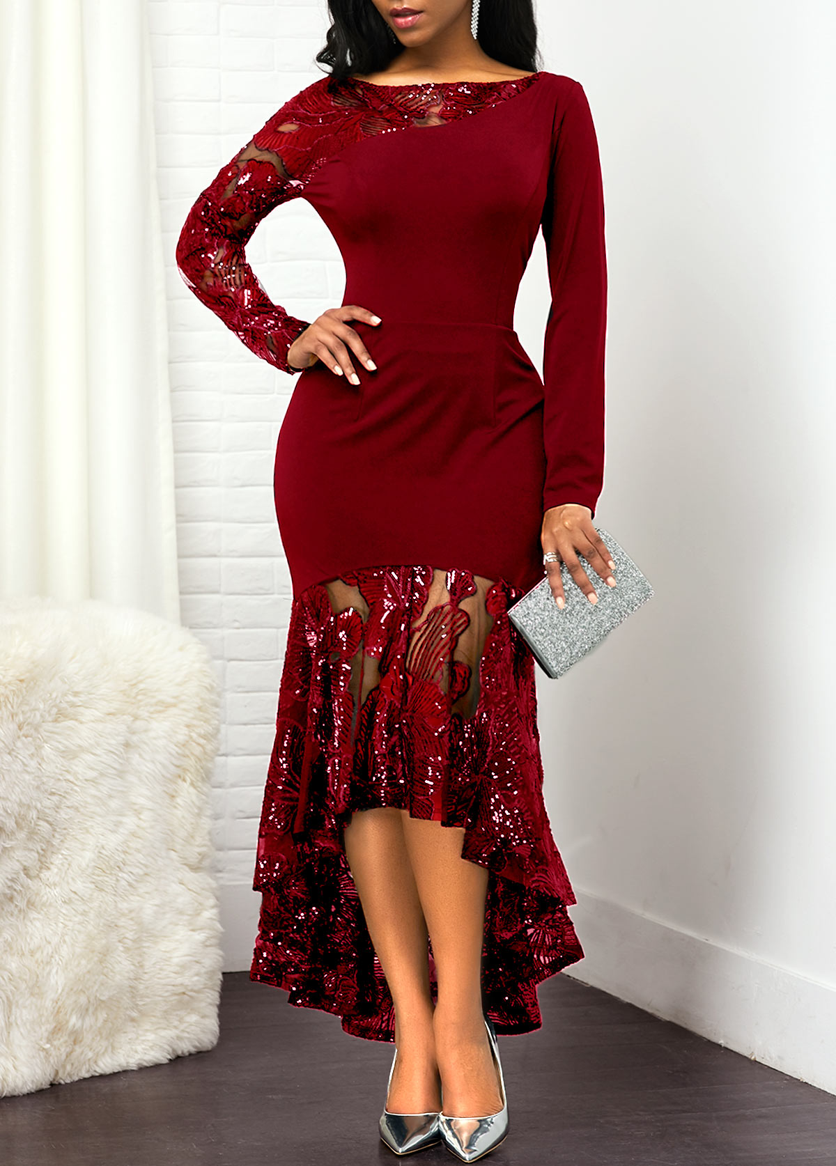 ROTITA Long Sleeve Lace Panel Sequin Embellished Dress