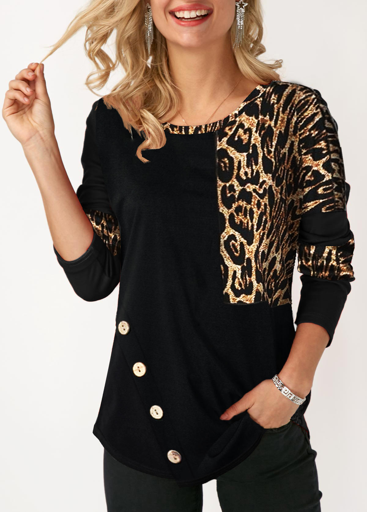 Button Embellished Leopard Print Long Sleeve T Shirt
