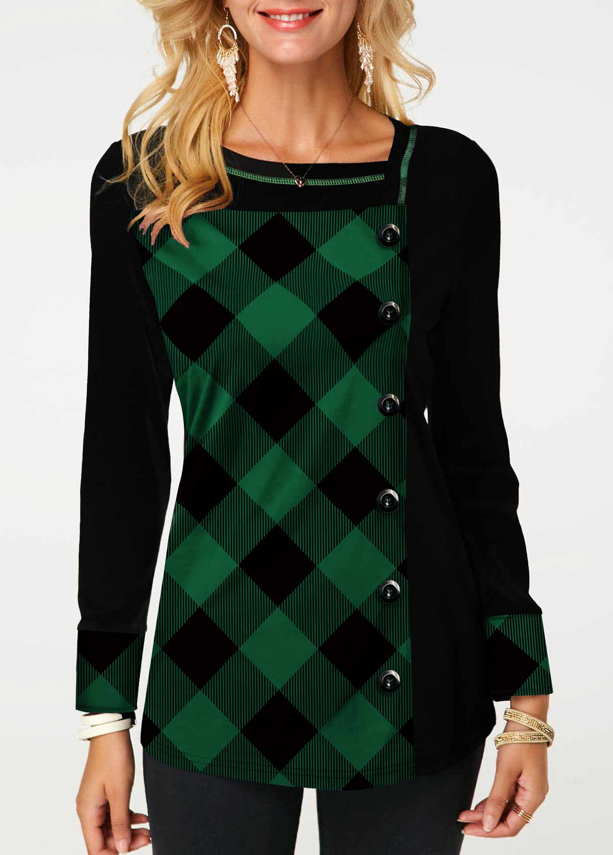 ROTITA Button Embellished Plaid Print Long Sleeve T Shirt