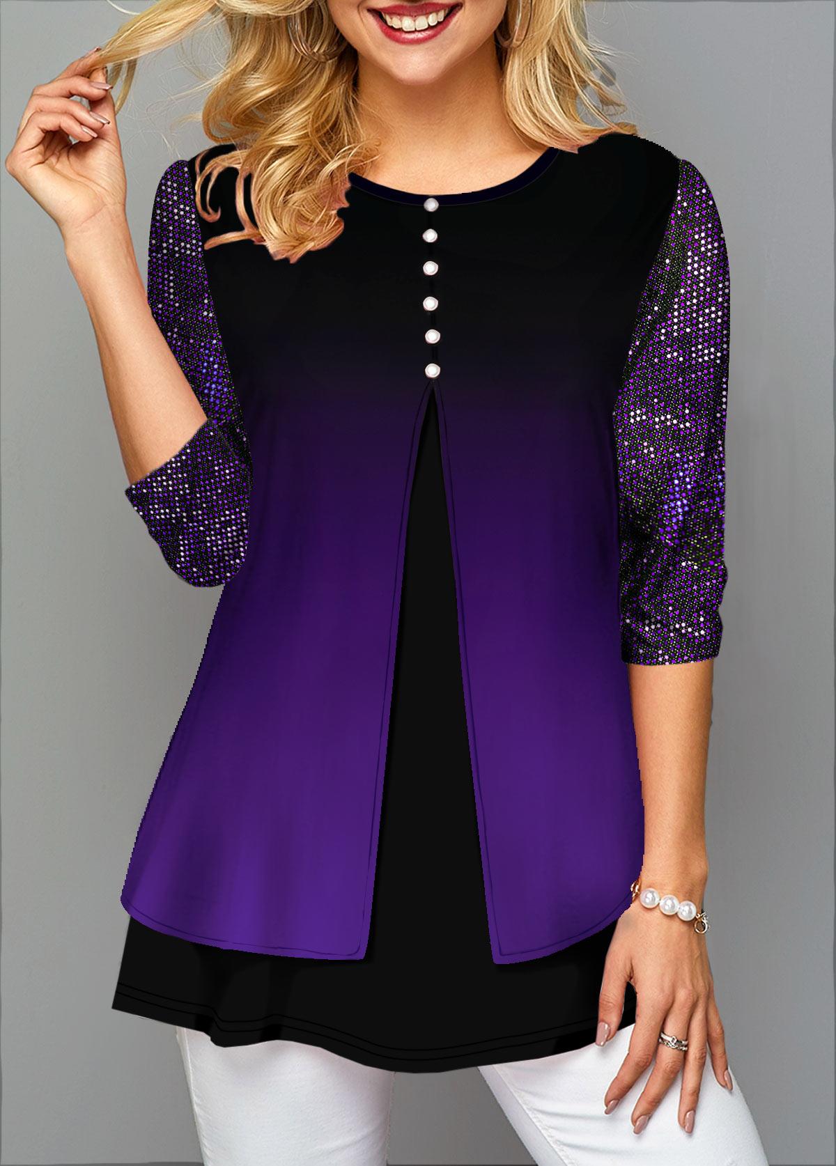 Faux Two Piece Gradient Sequin Detail T Shirt