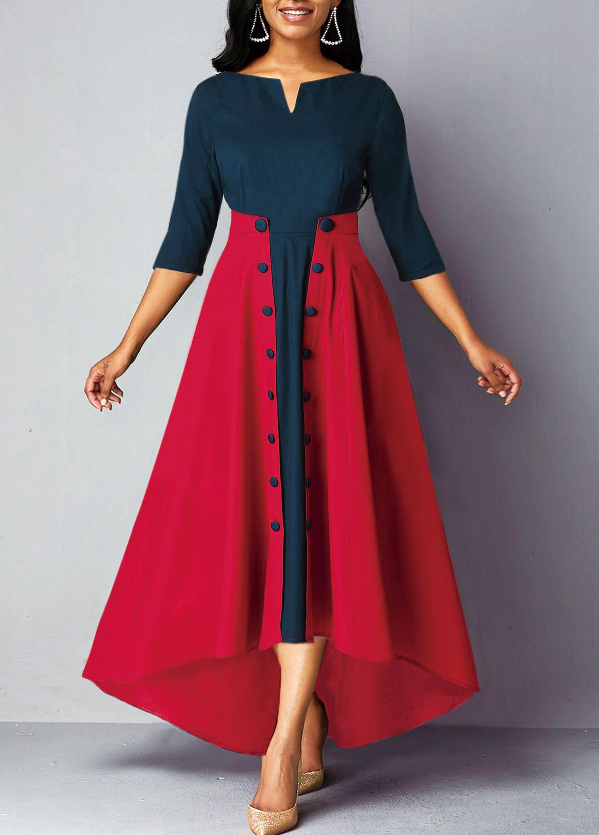 Button Embellished Split Neck High Waist Dress