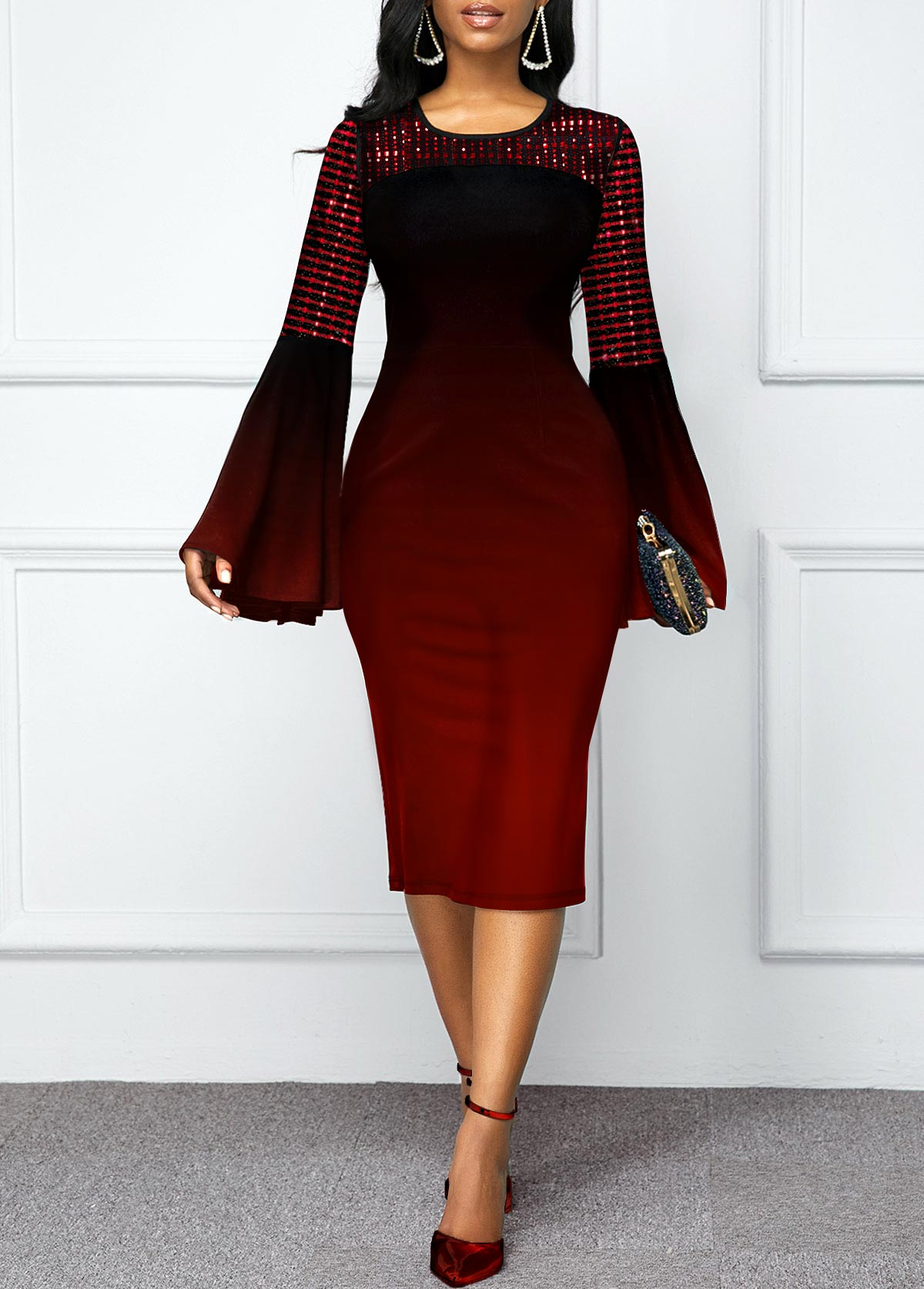 Ombre Flare Sleeve Round Neck Dress