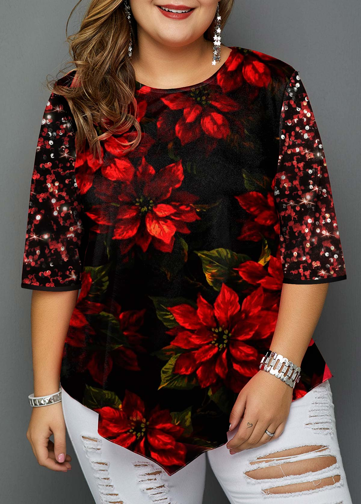 Christmas Print Sequin Embellished Plus Size T Shirt